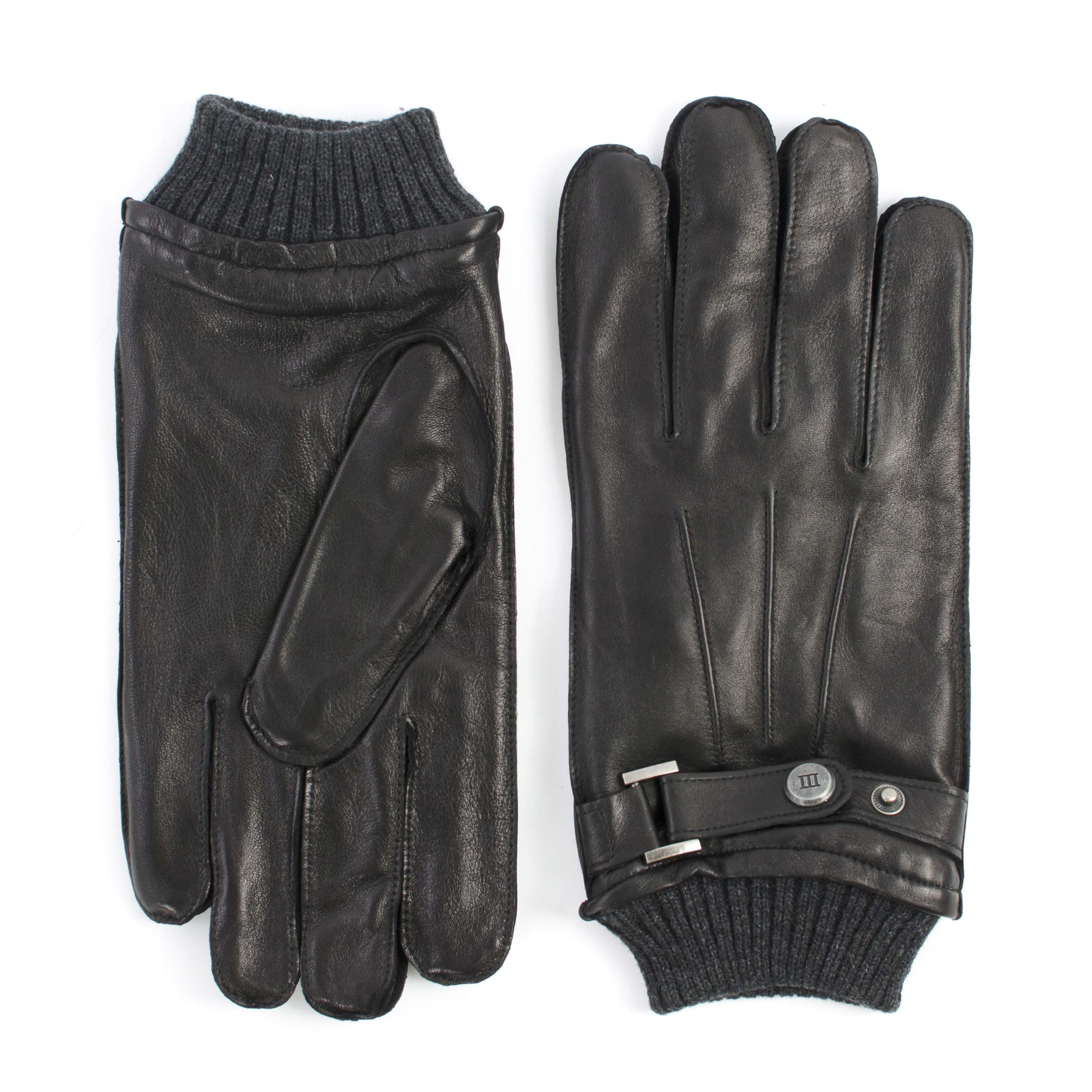 Black analine sheepleather gloves with knitted cuff