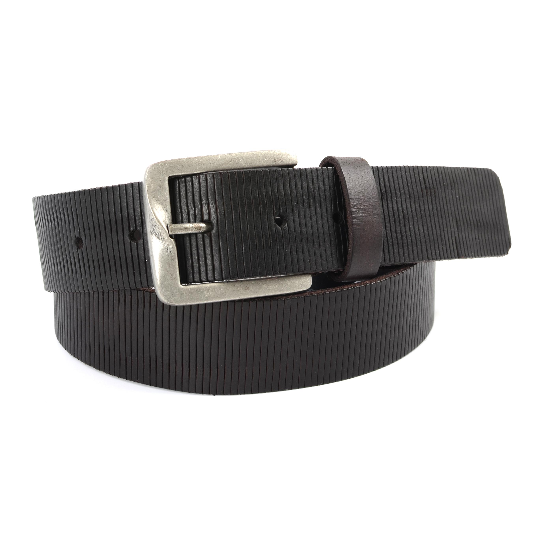 Belt dark brown leather textured