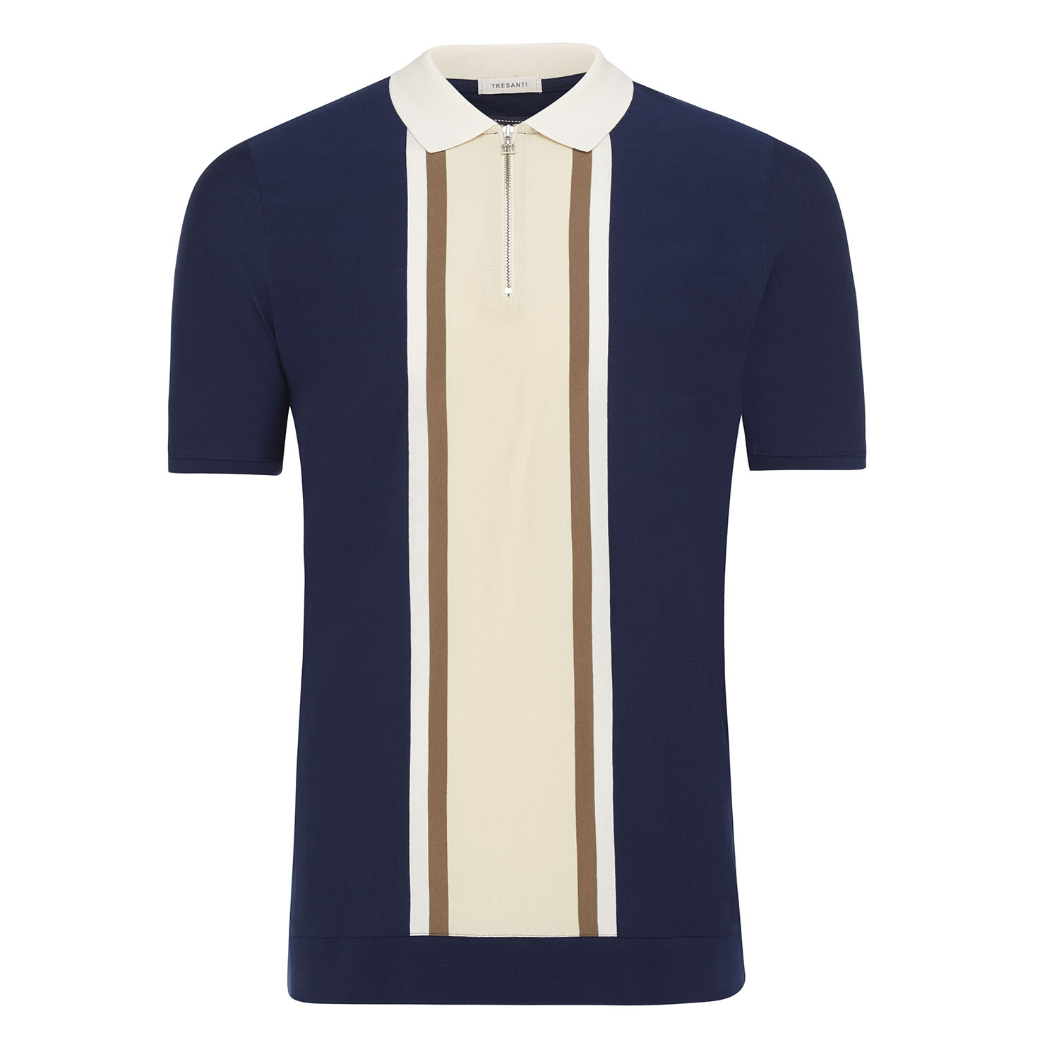 Marvin | Polo mercerized cotton with zipper navy