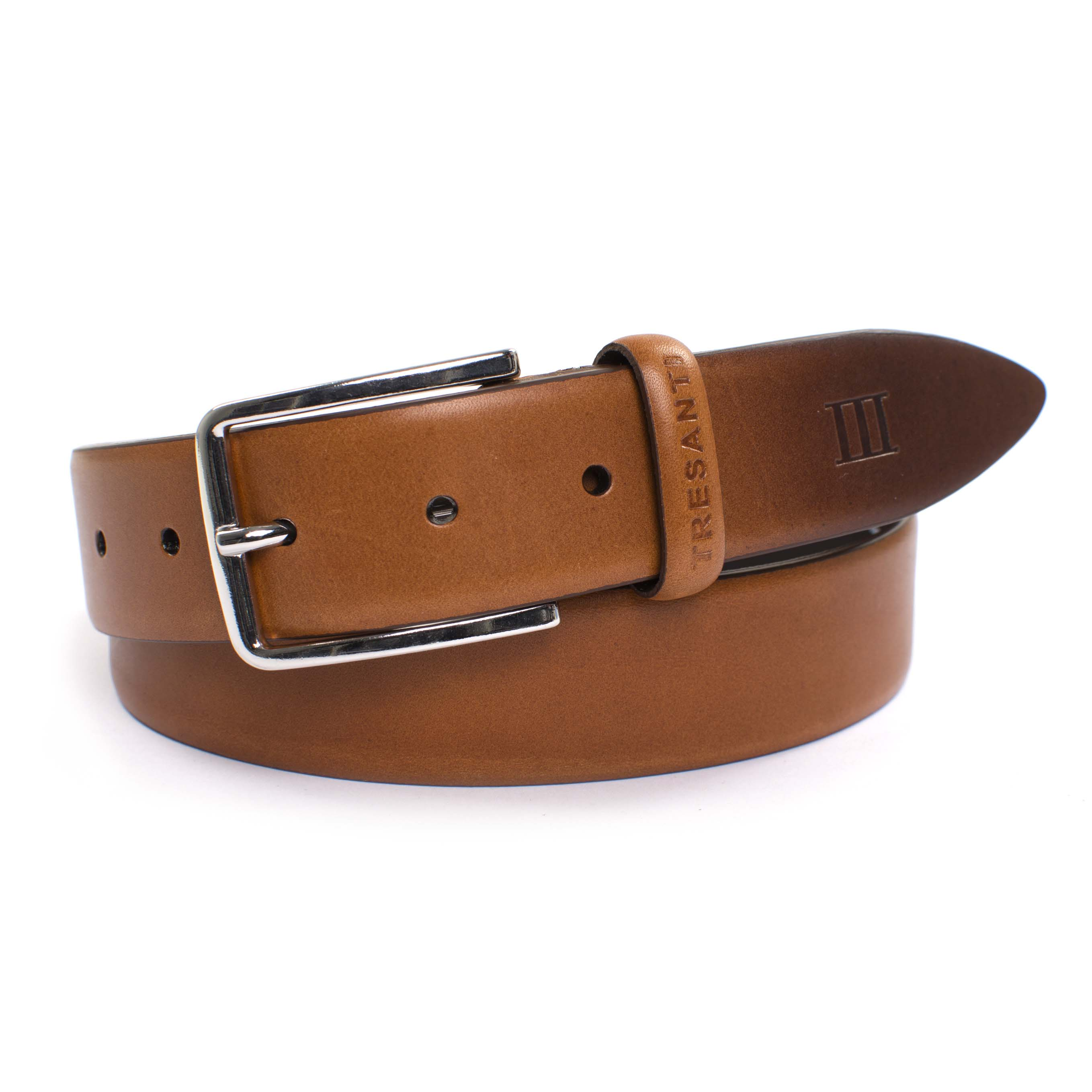 Belt cognac leather with handpainted tip