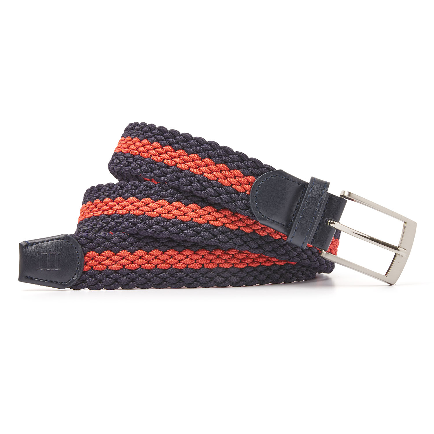 Mees | Braided belt navy/coral