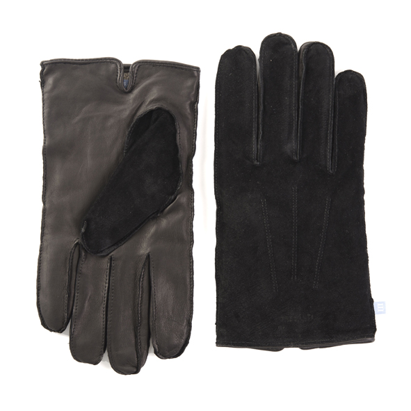 Black leather gloves with suede