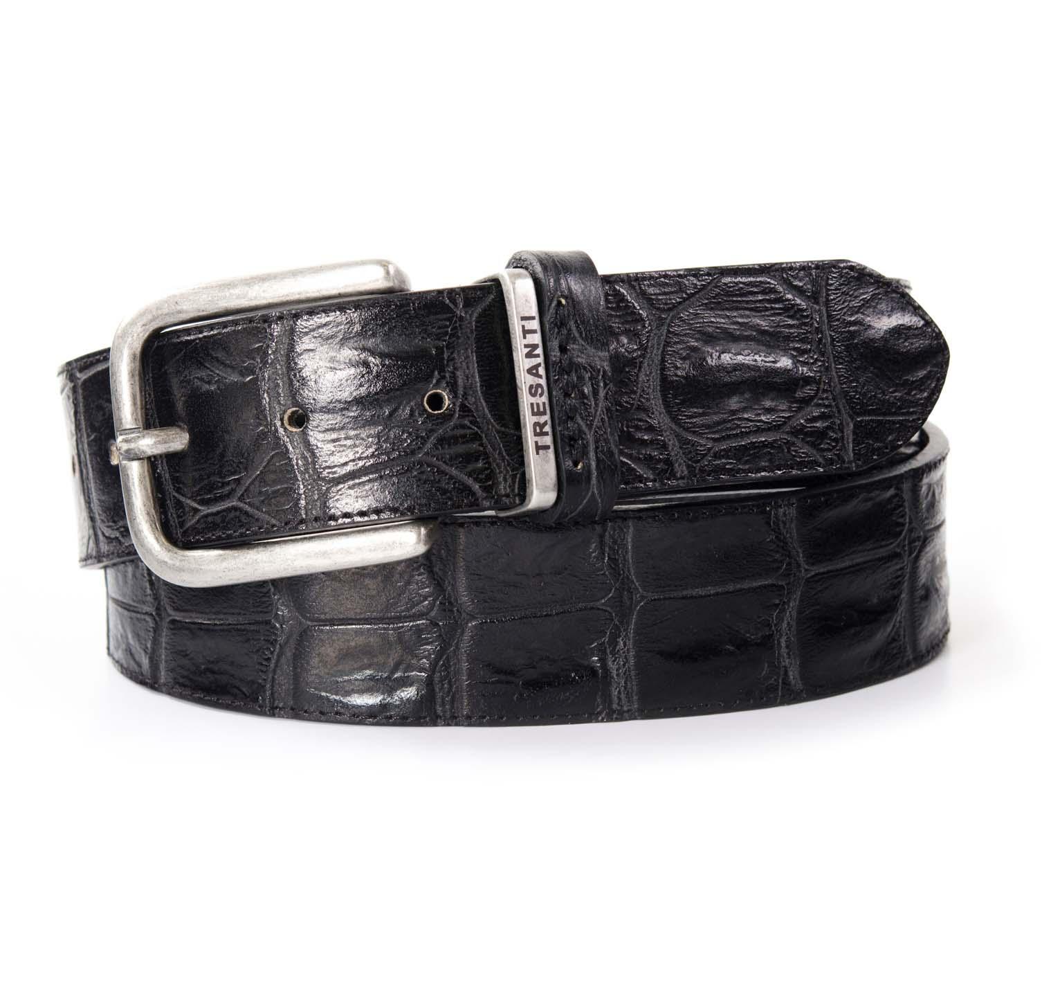 Belt black leather with crocodile print