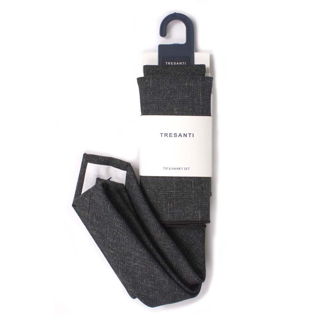 Cotton set tie & hanky grey