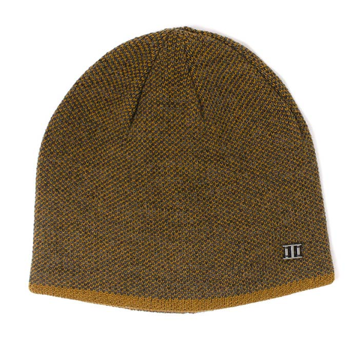 Jaxin | Fine knitted beanie with colored border mustard