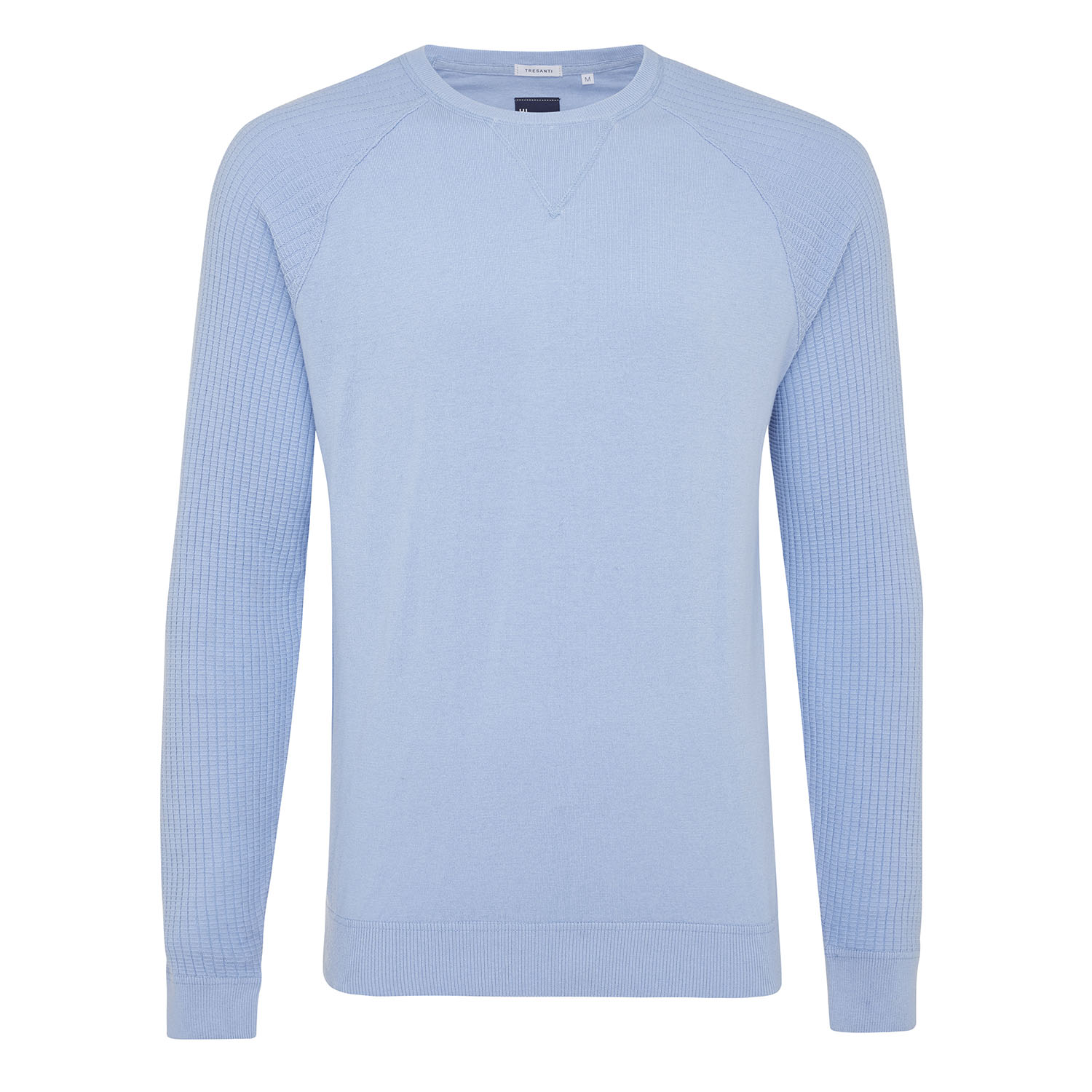 Magnus | Pullover rib sleeves light blue cotton/cashmere