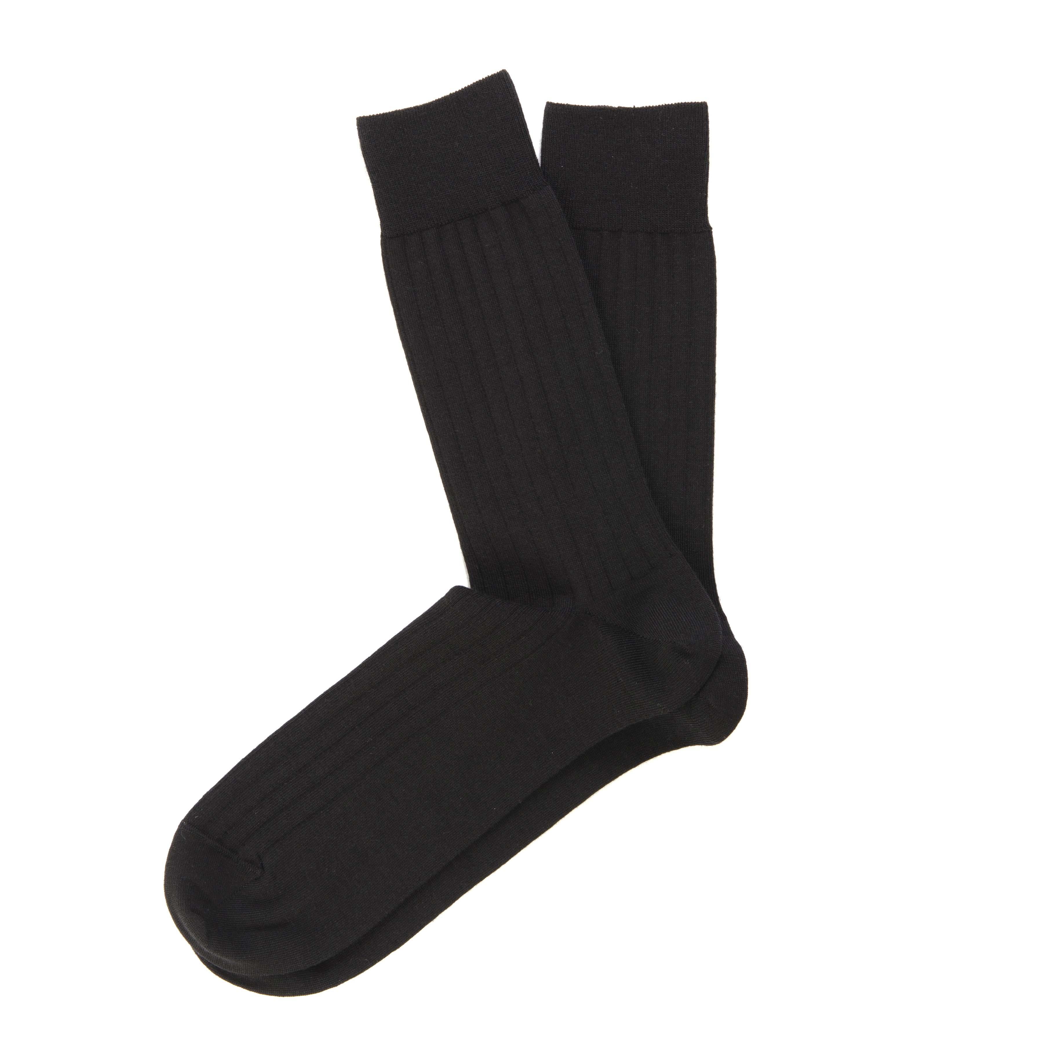 Socks black, ribknit