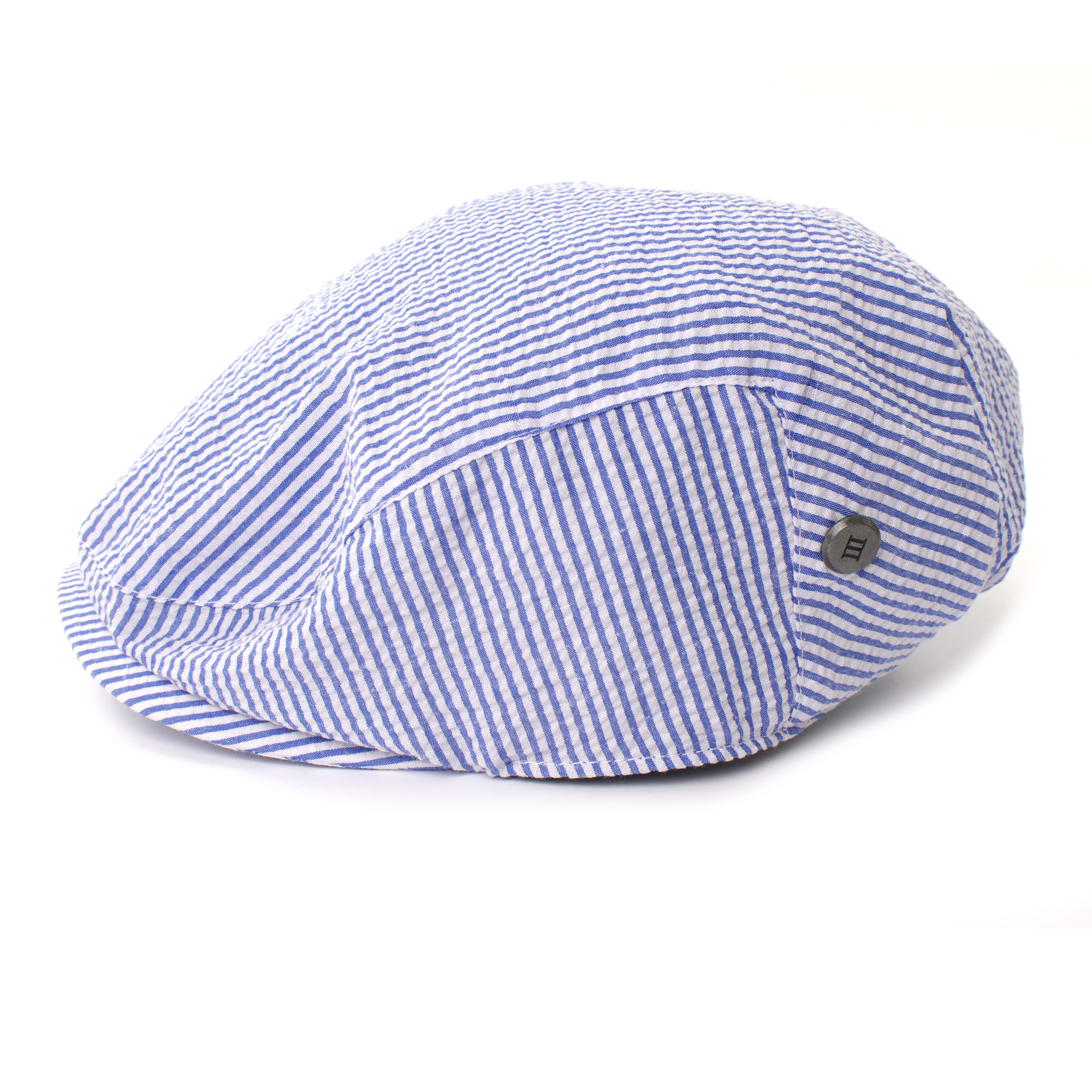 Tjesse | Flat cap seersukker blue stripe