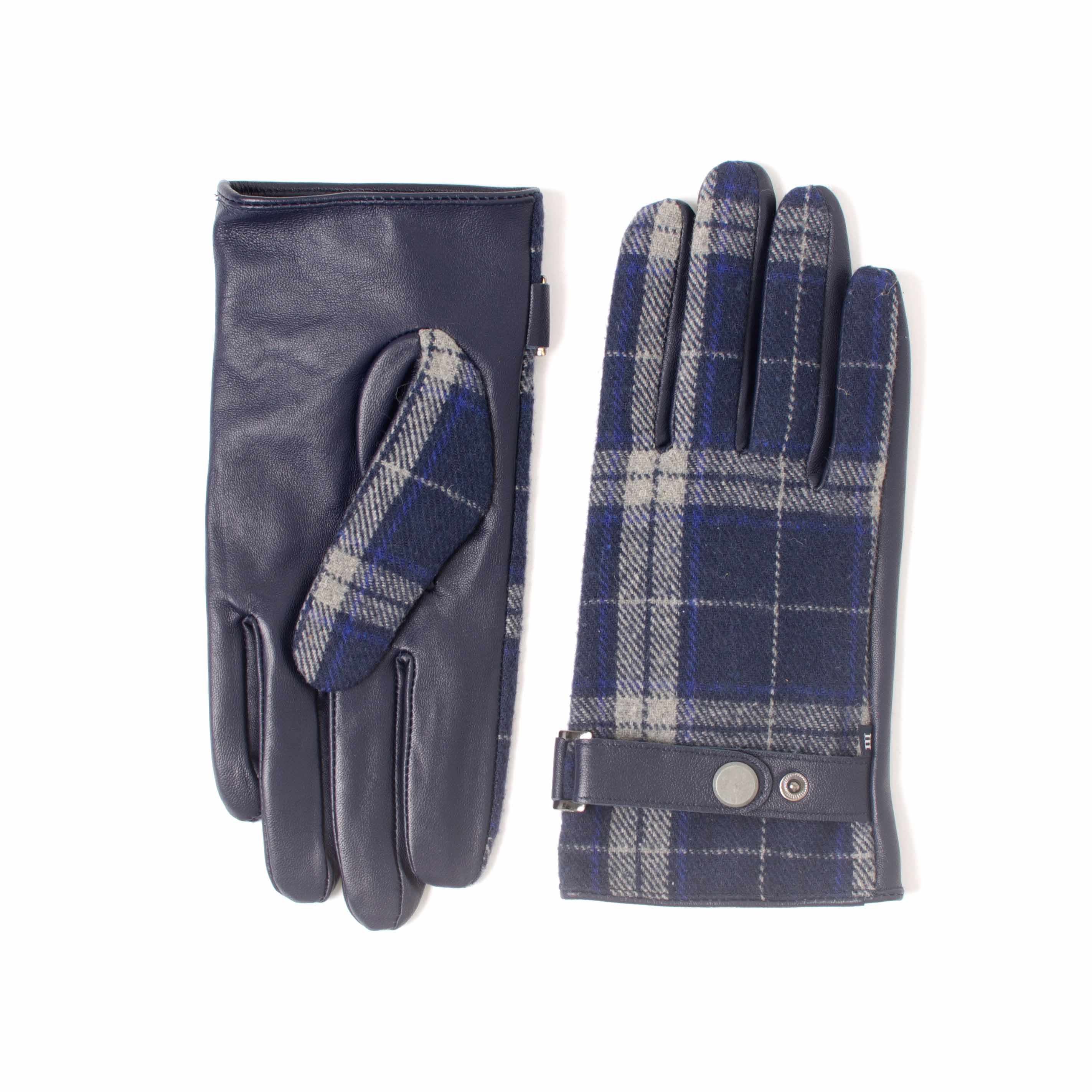 EUAN | Black leather and fabric glove with check pattern