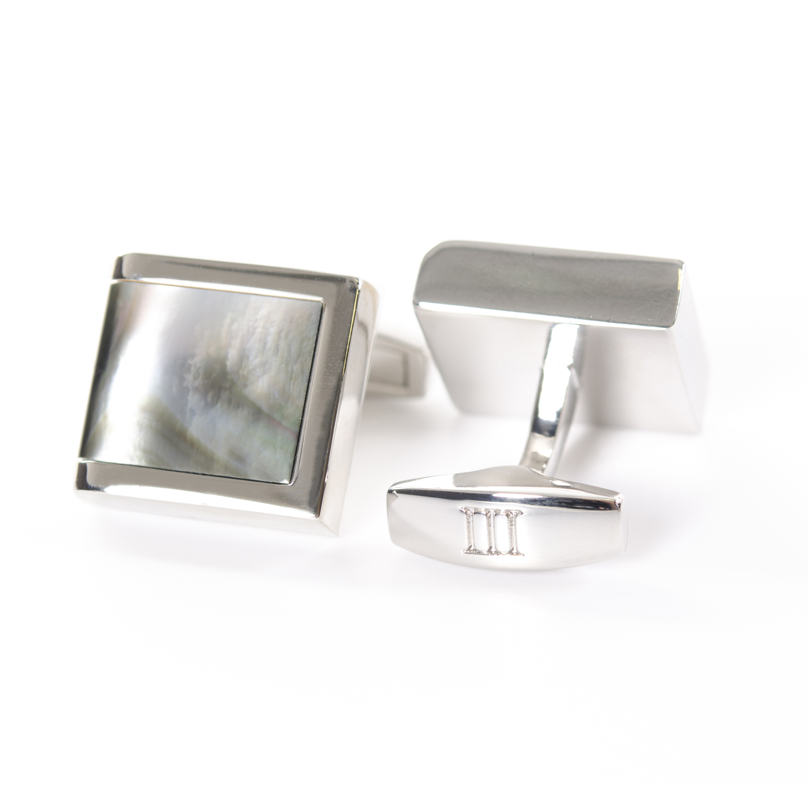 Cufflinks polished rhodium with grey Mother of Pearl inlay