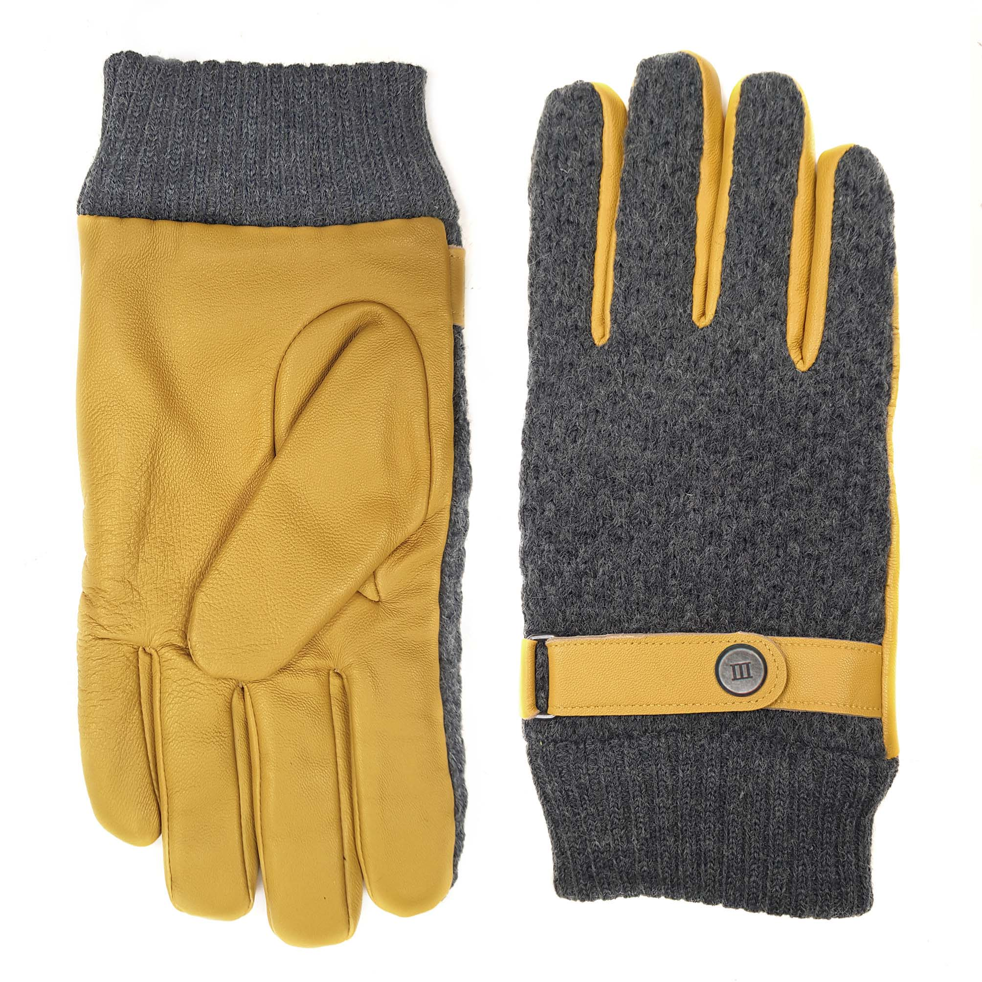 Jorian | Knitted and leather gloves ochre yellow