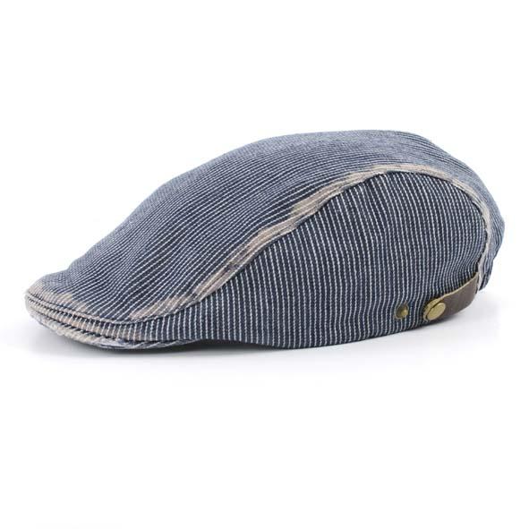Flat cap, denim stripe