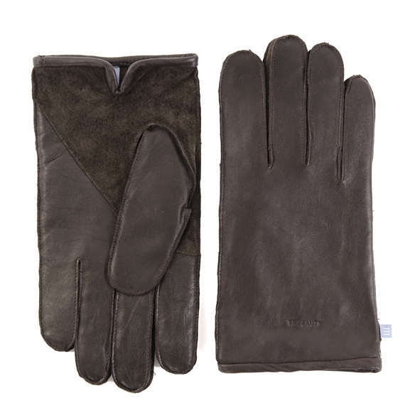 Brown leather gloves with suede