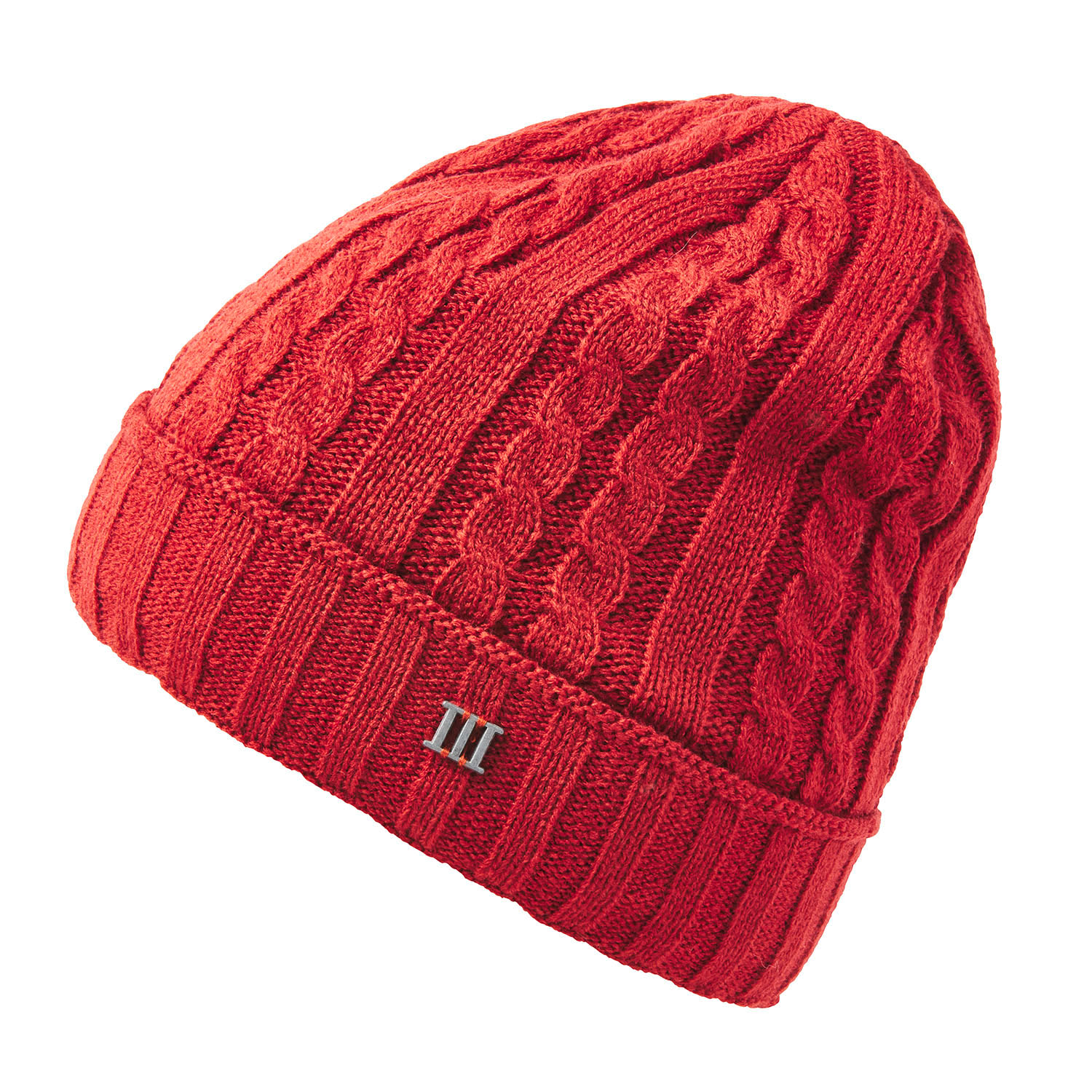 ERRIC | Cable knitted beanie in red