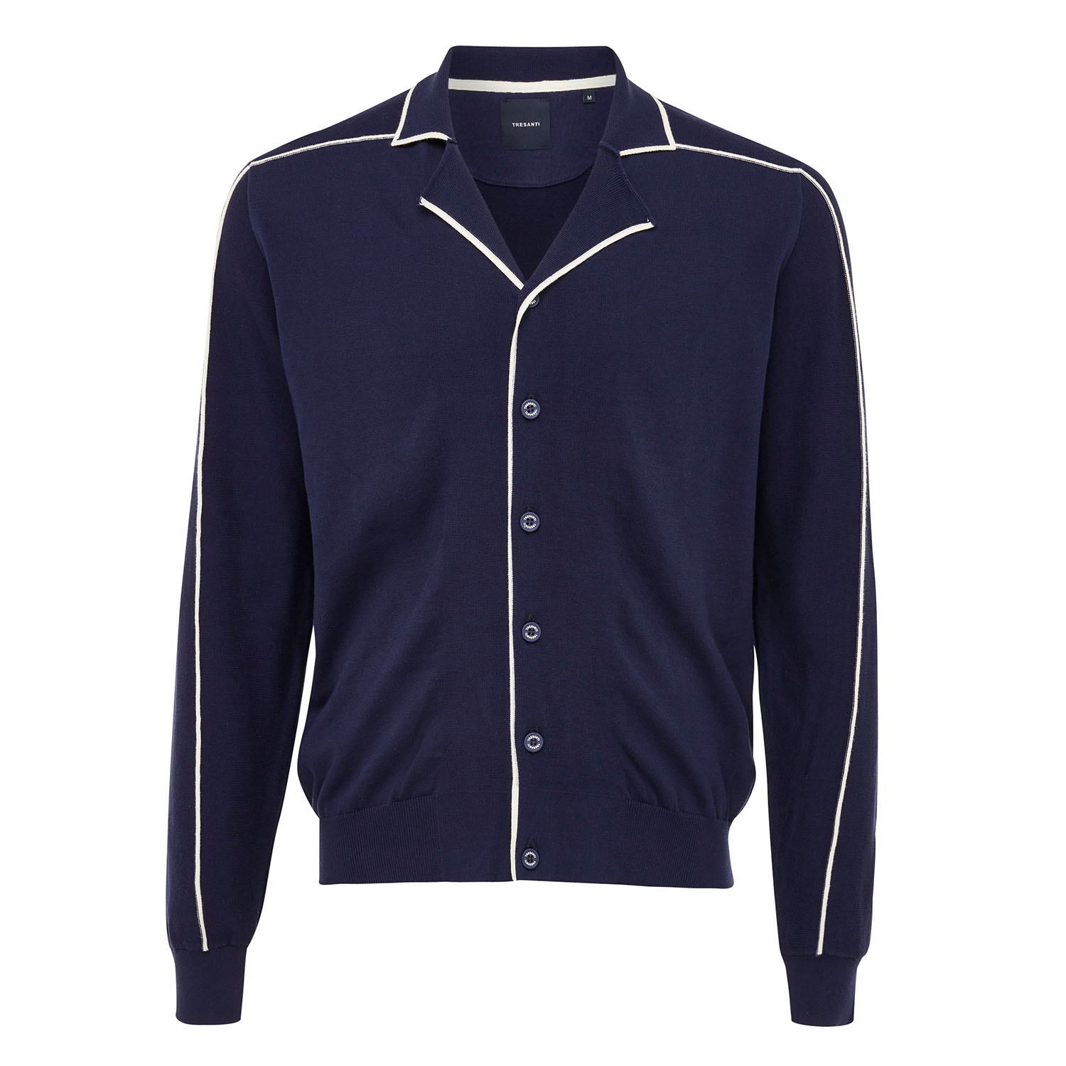 EMIL | Button-through pullover with side stripe relief navy