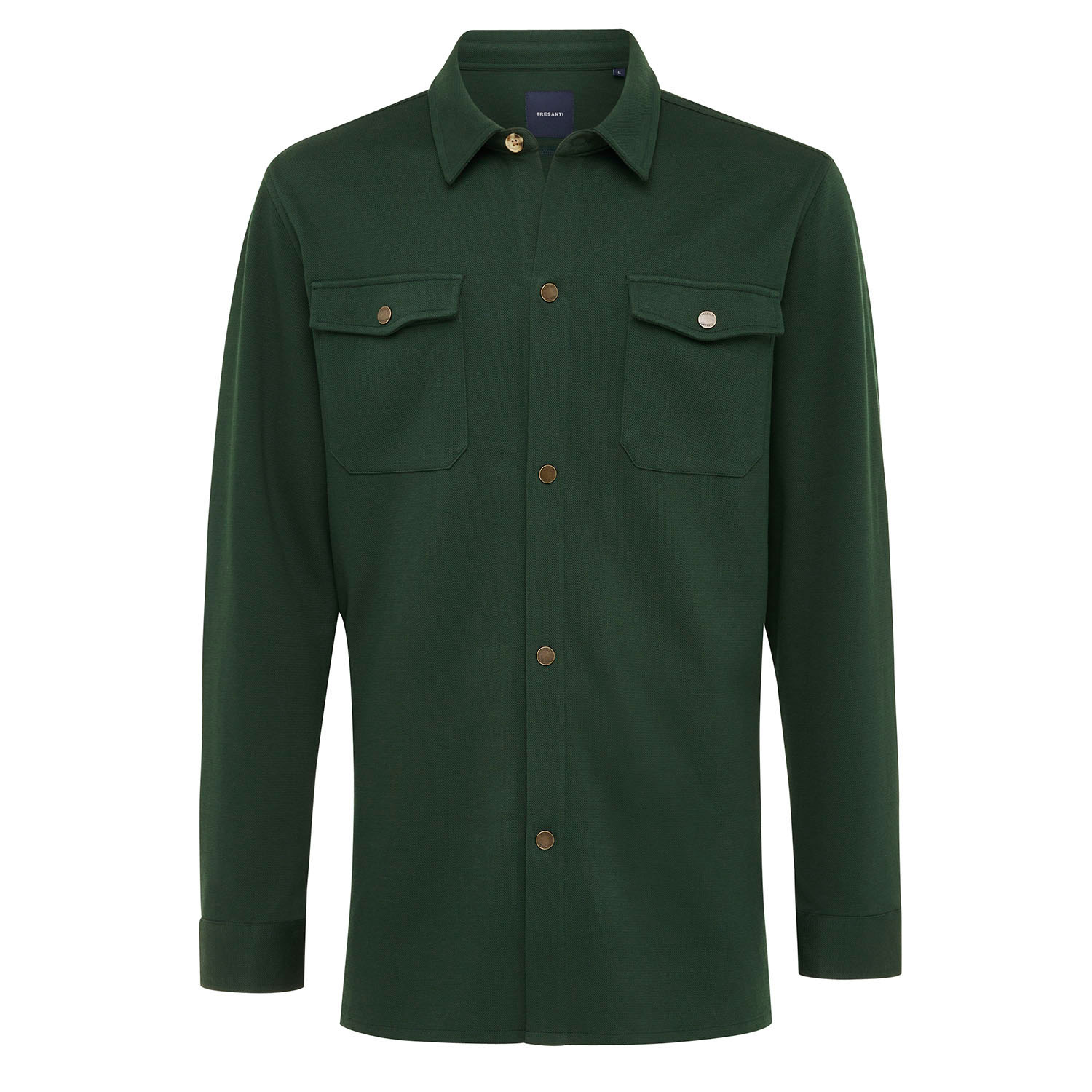 ELEVEN   Jersey overshirt with button closure green