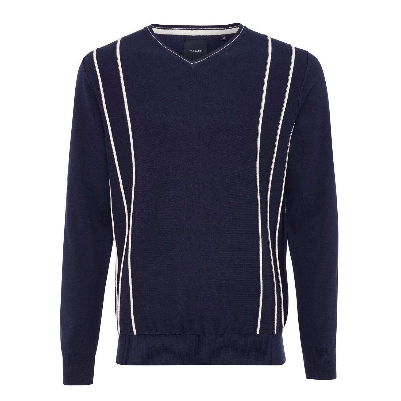 EDEN | V-Neck pullover with stripe relief navy