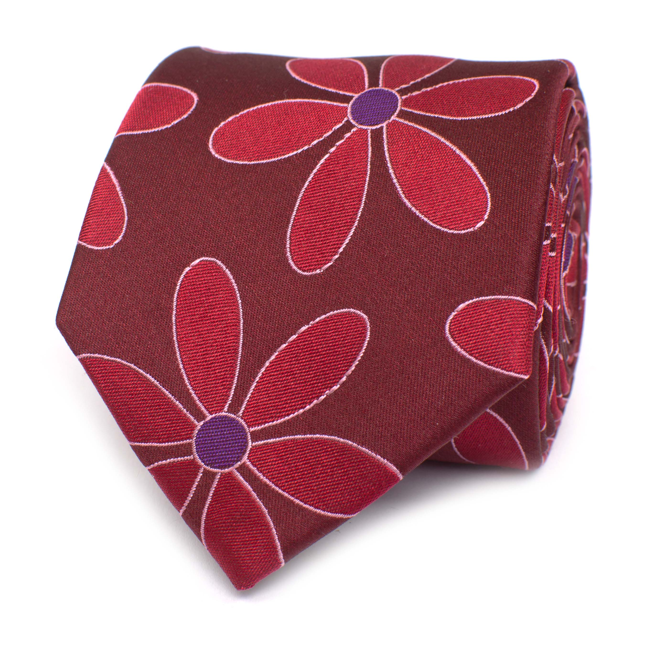 Tie with flower design red silk