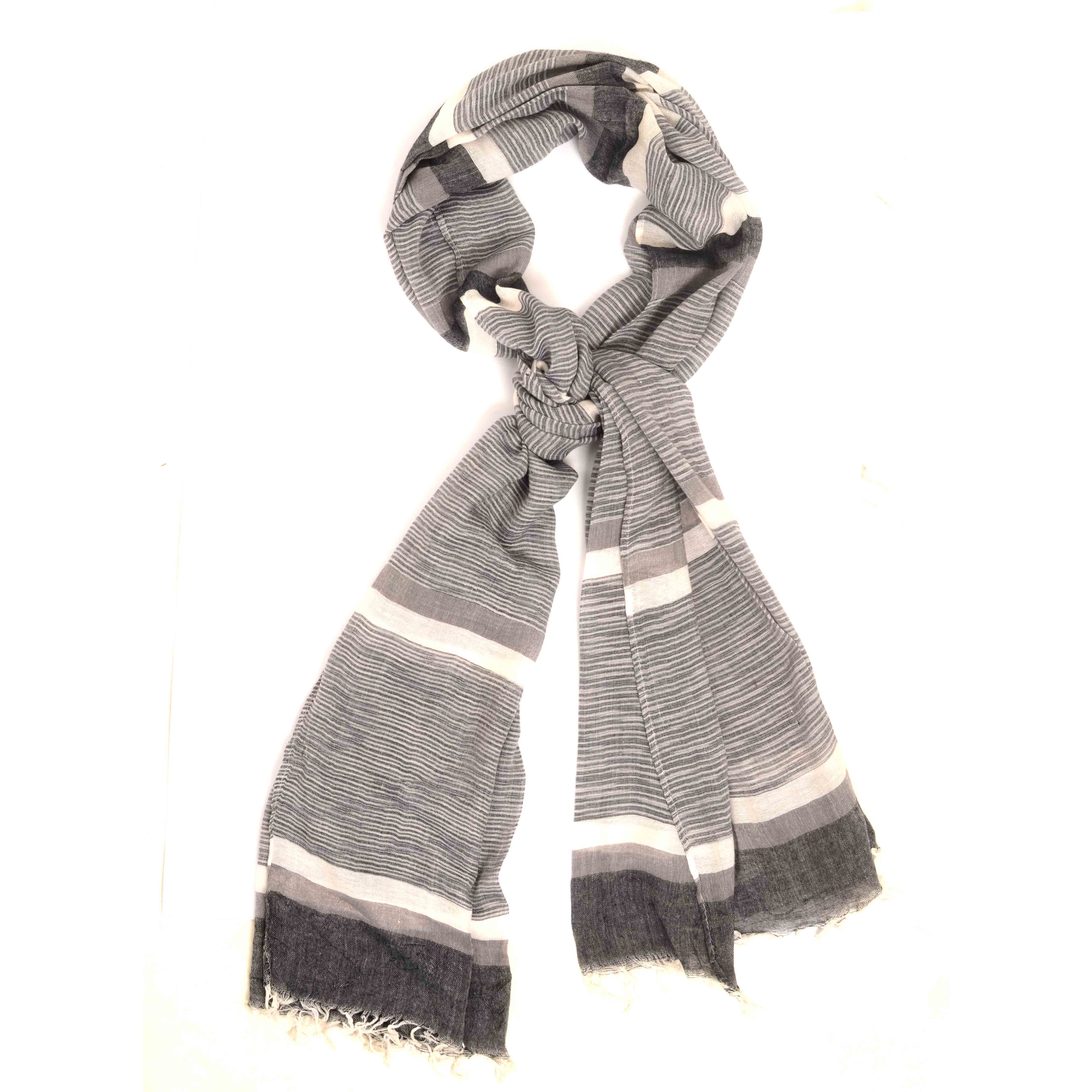 Mailo | Scarf with stripe dessin in a variation op grey tints