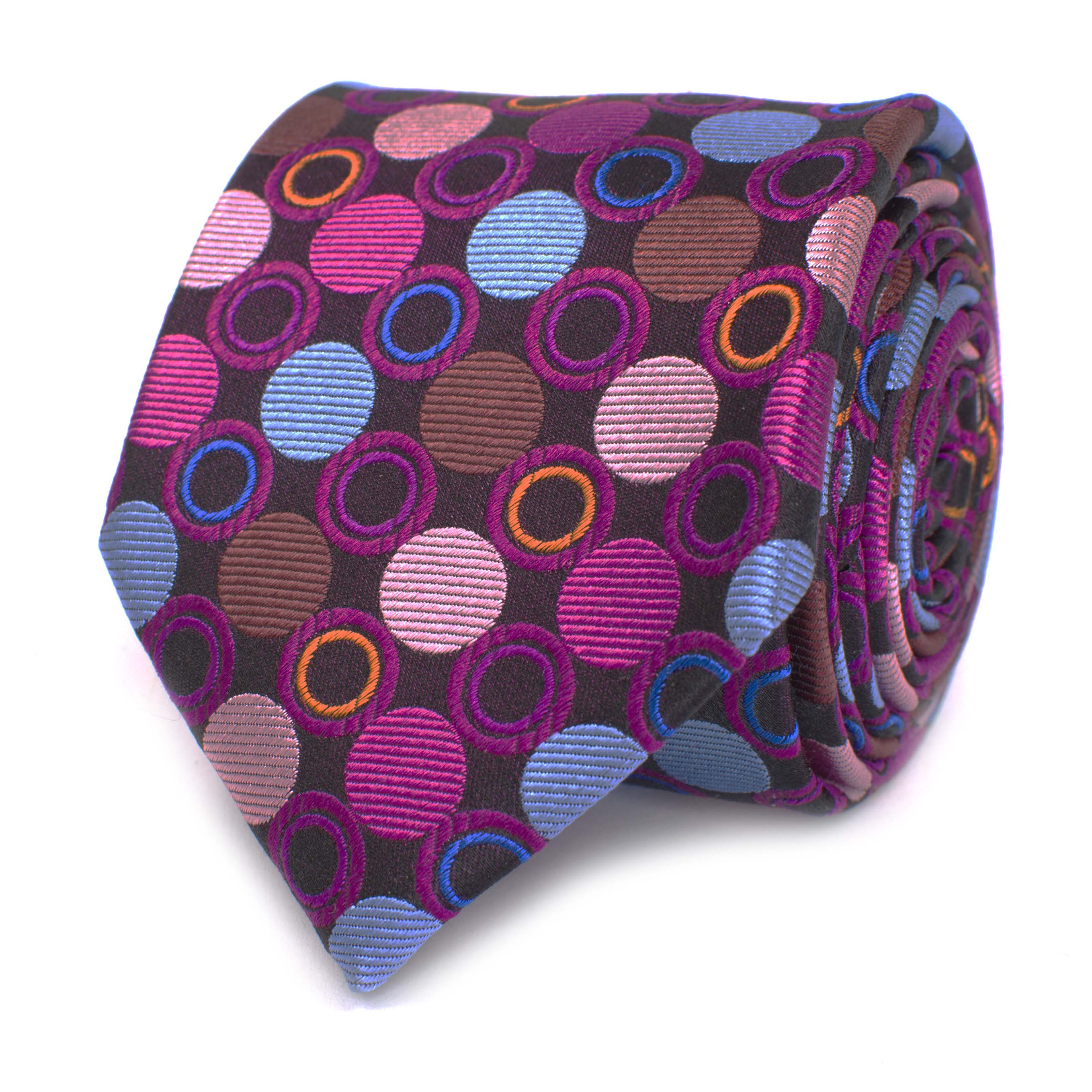 Tie fuchsia with big circle desgin multi coloured