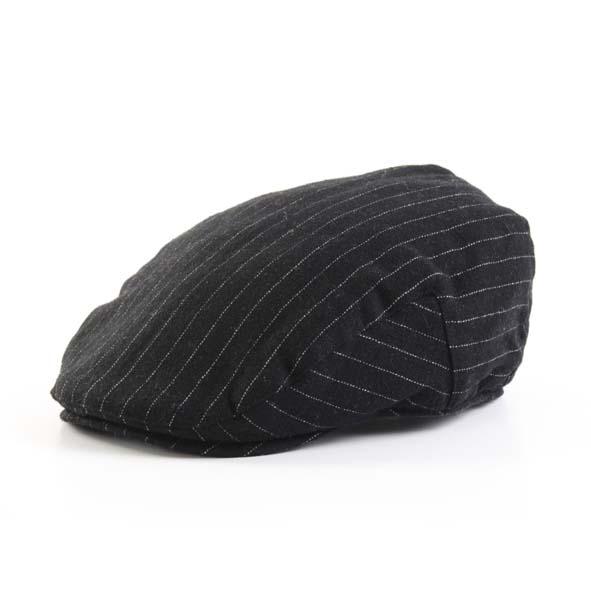 Flat cap, black pinstripe design