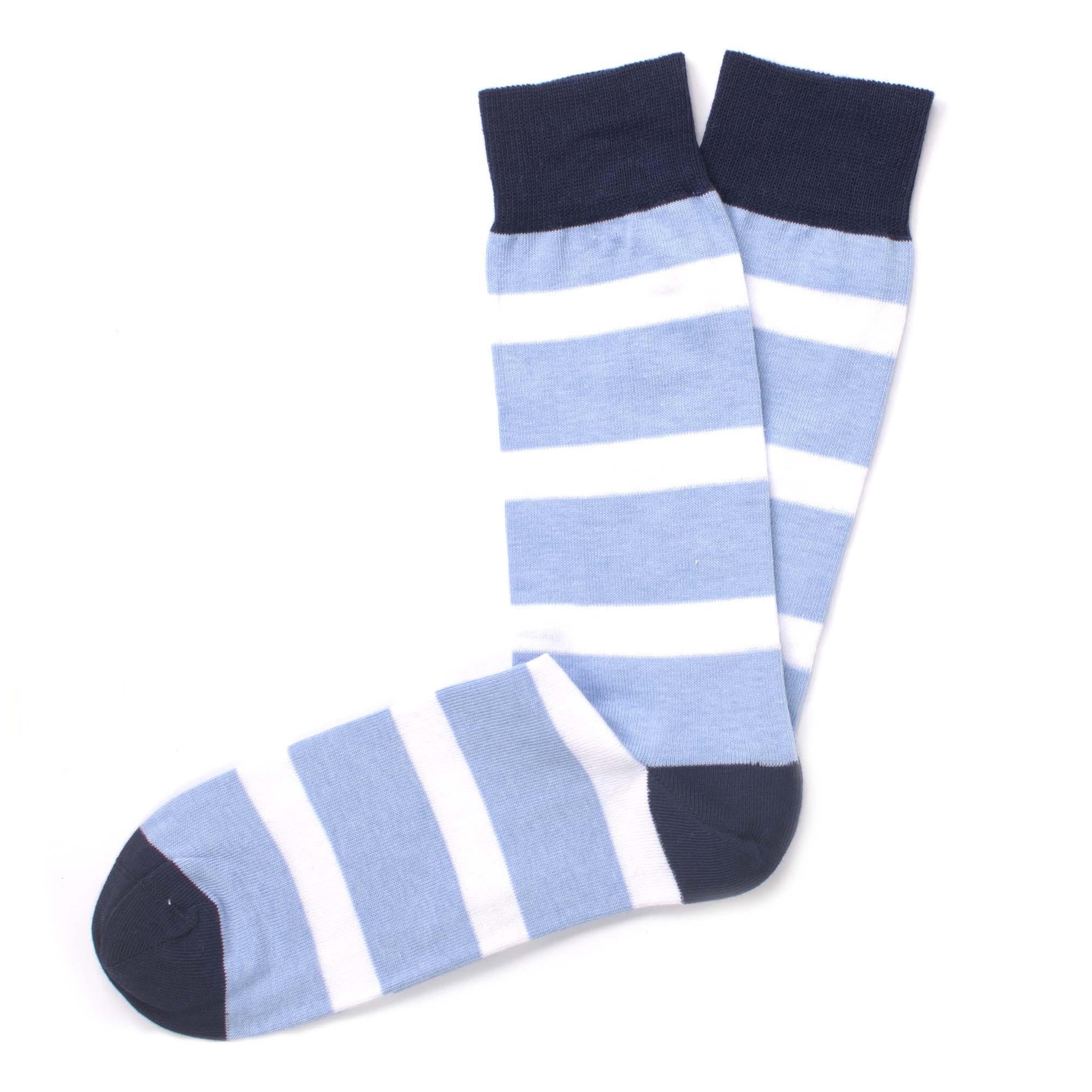 Socks striped skyblue/white