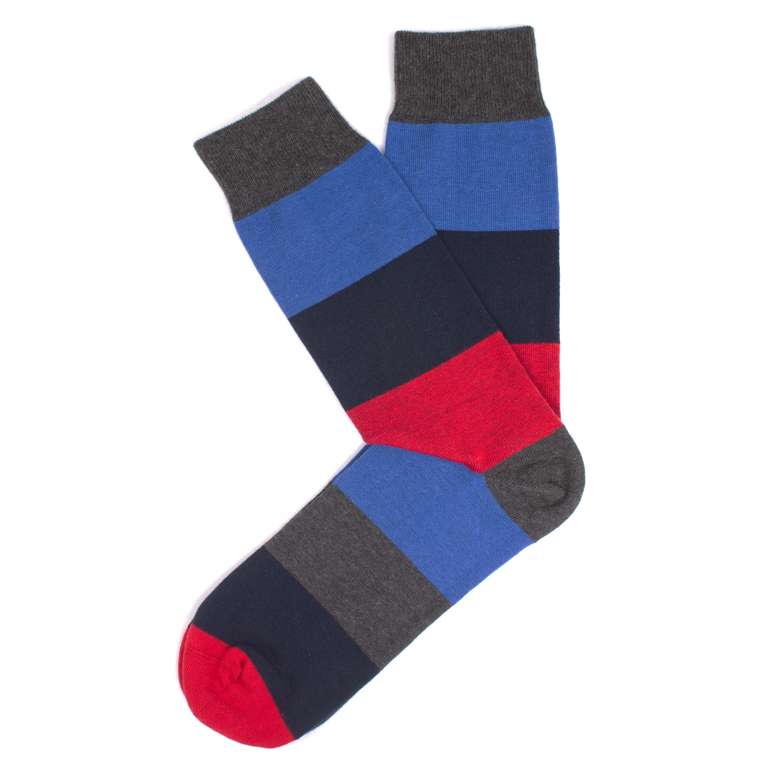 Navy and grey melange socks, red/navy big stripe