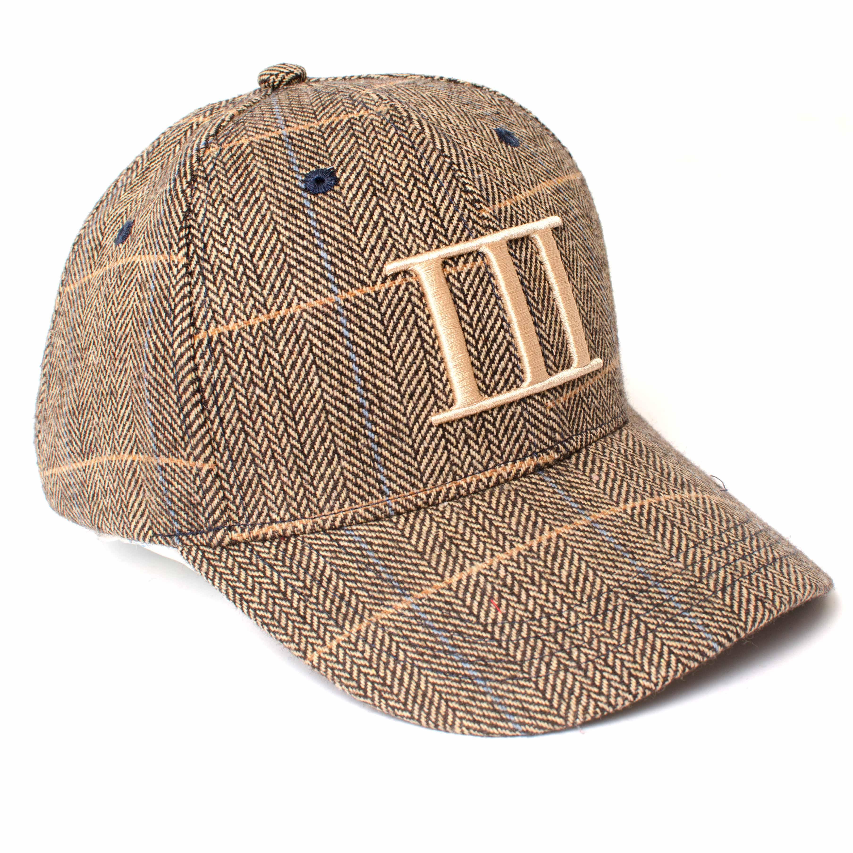EGAN   Coffee colored baseball cap with herringbone pattern