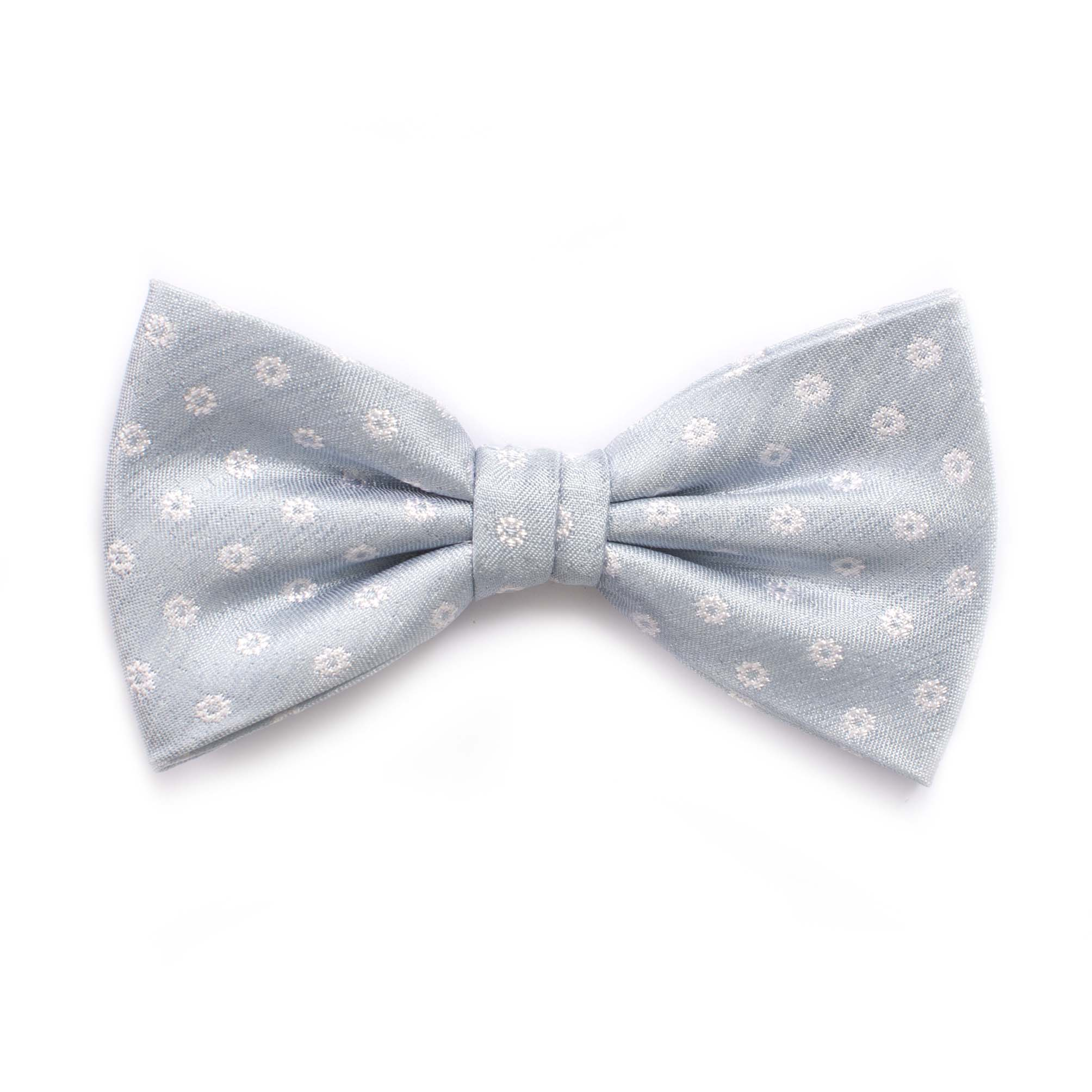 Bow tie with small flower design light blue