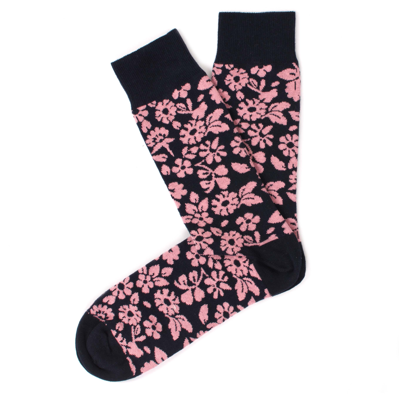 Socks navy, pink flower