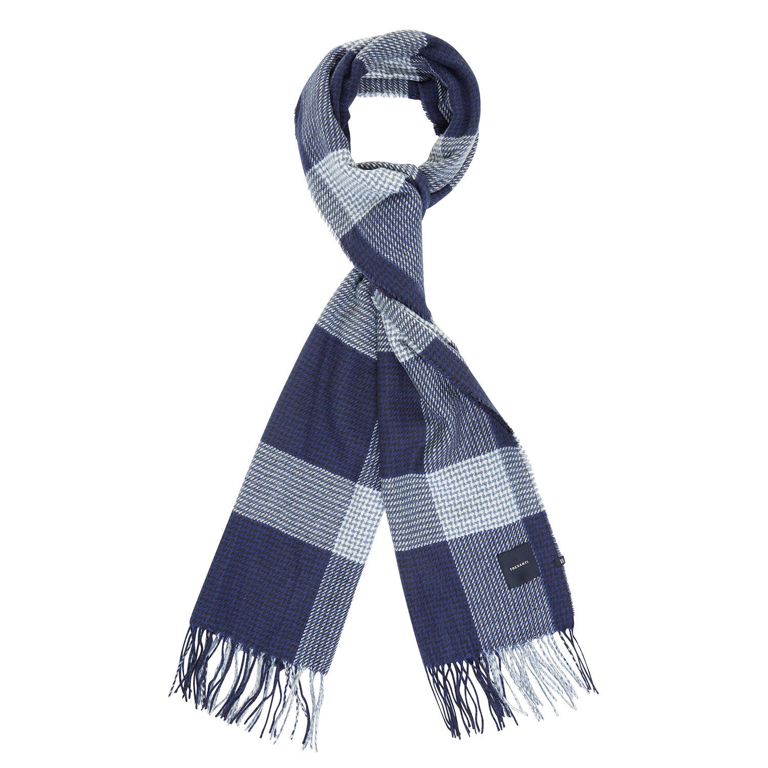 EVERD | Checked scarf in tints of blue with pied-de-poule accents