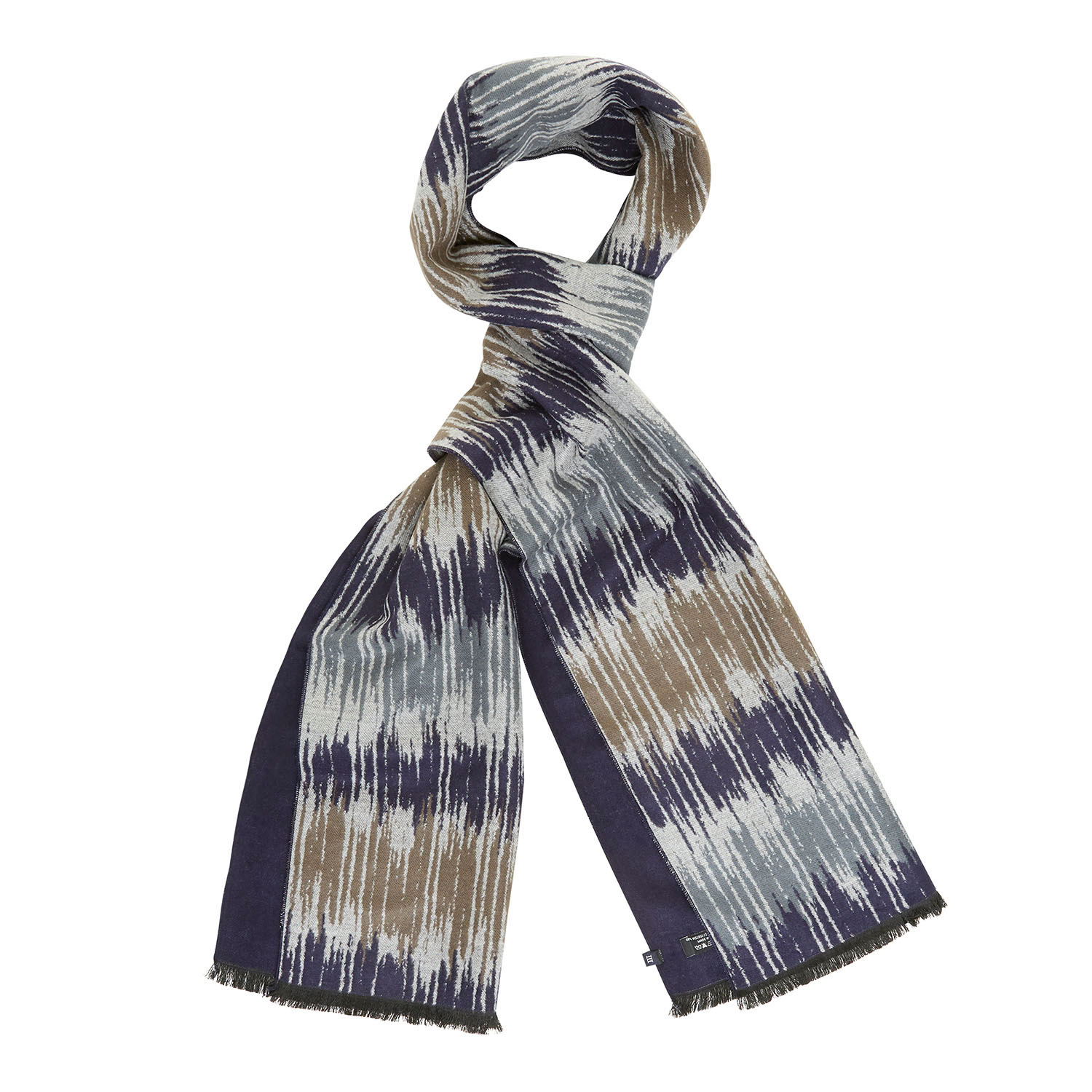 ENDO | Double face viscose scarf with damaged stripe pattern