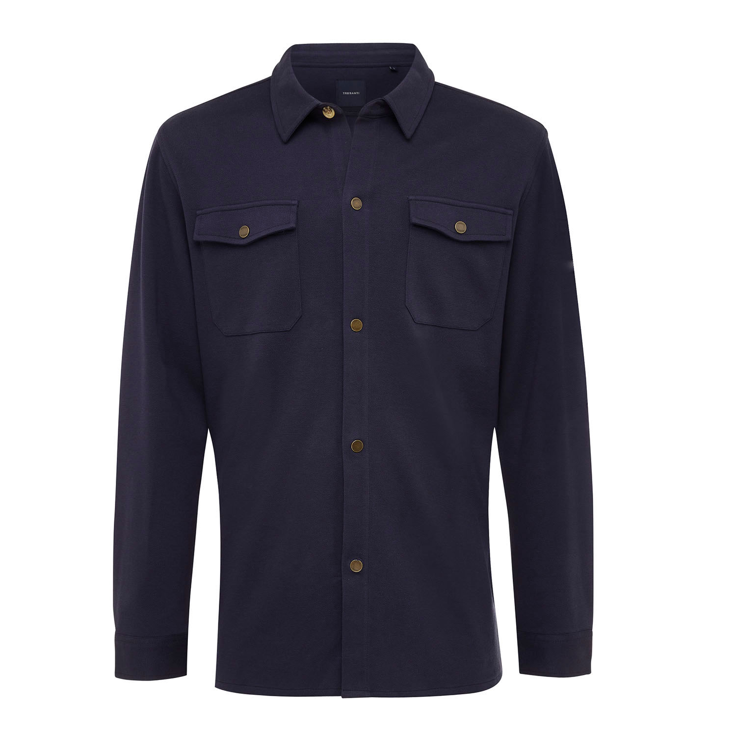 ELEVEN   Jersey overshirt with button closure navy