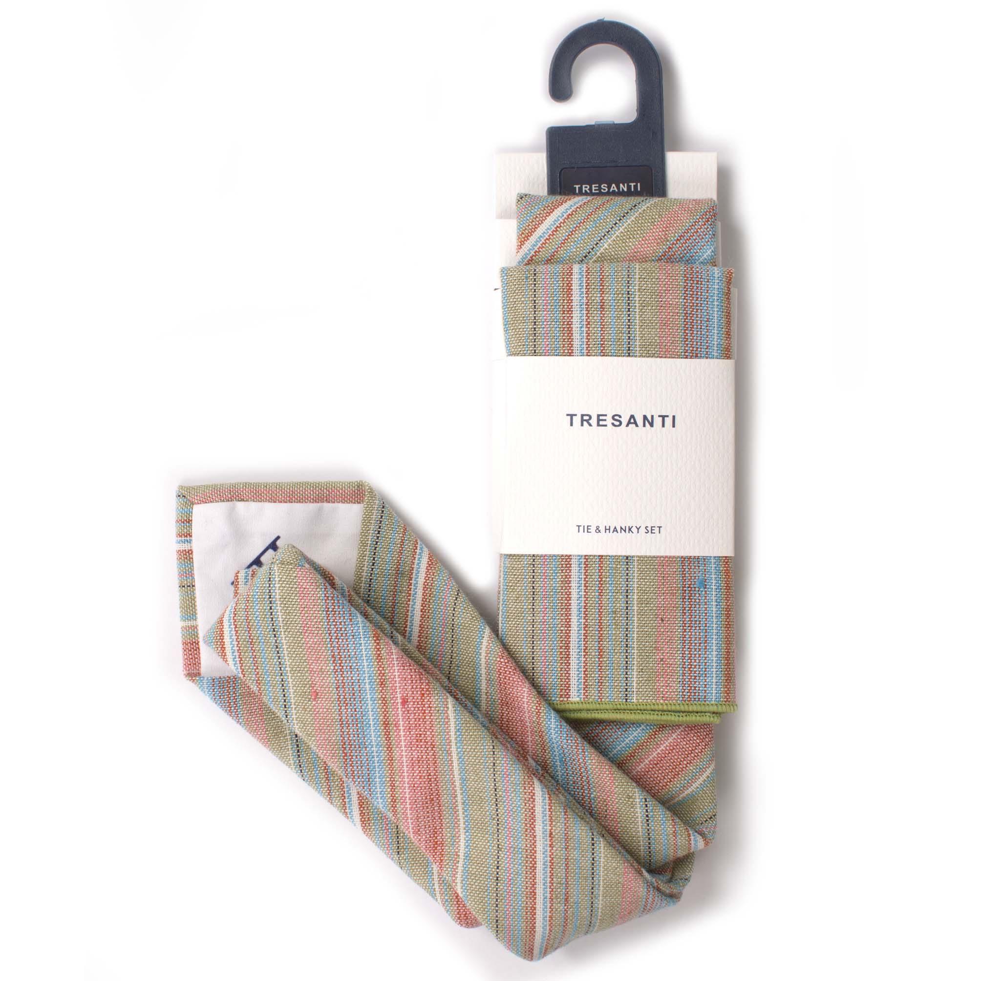 Linen set tie & hanky stripes
