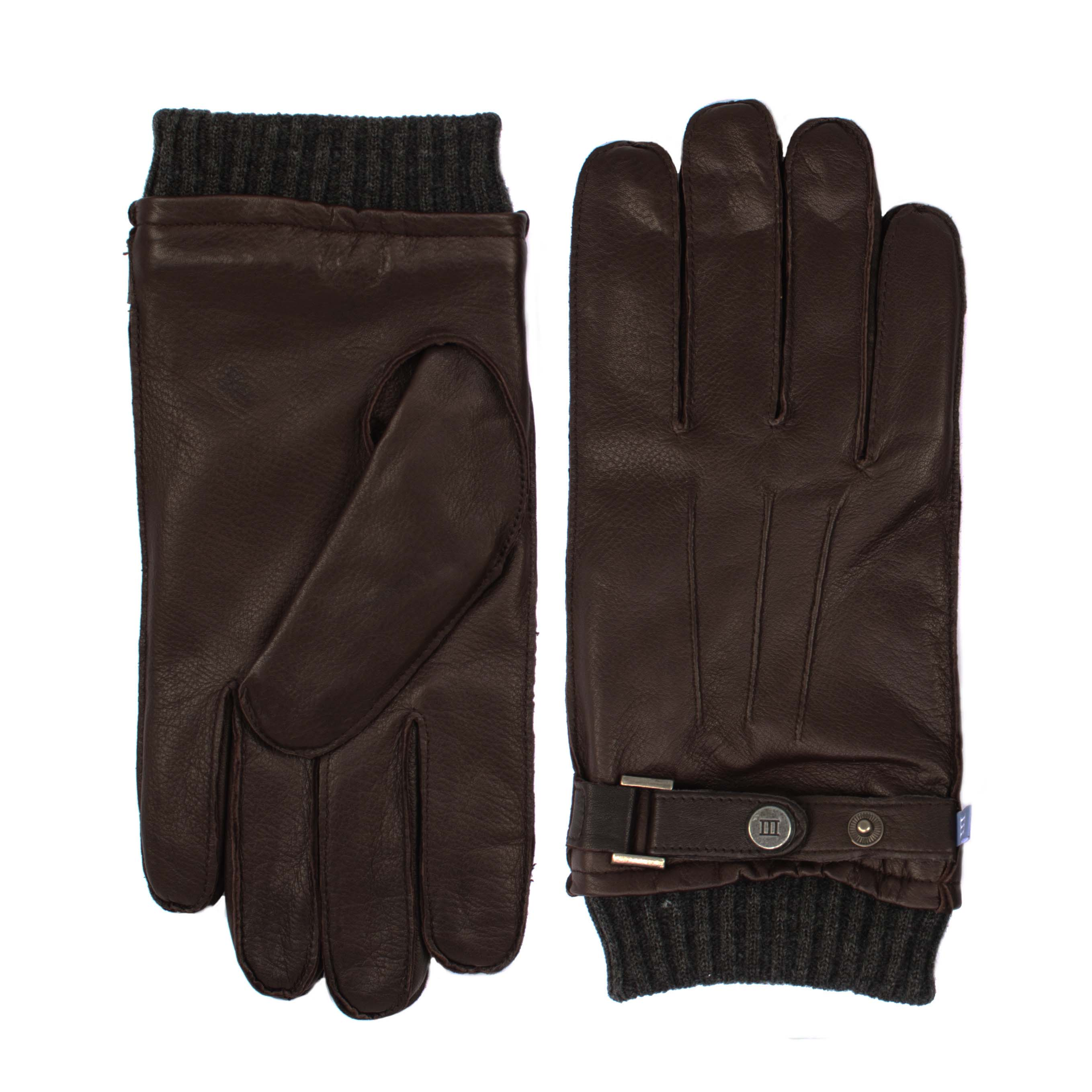 Brown analine sheepleather gloves with knitted cuff