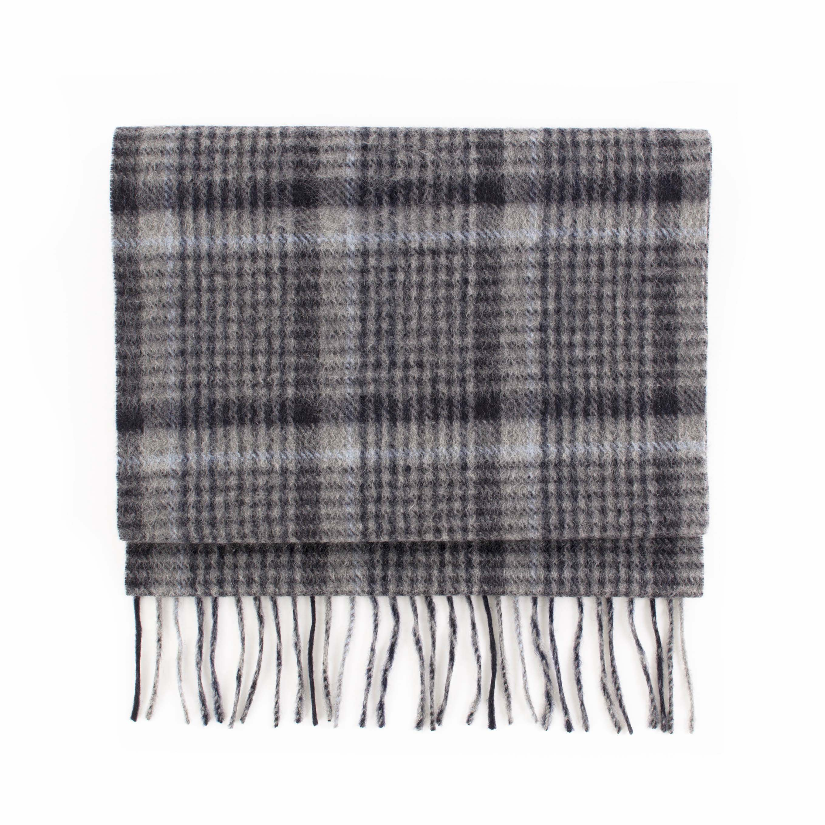 Cashmere scarf check, navy, grey