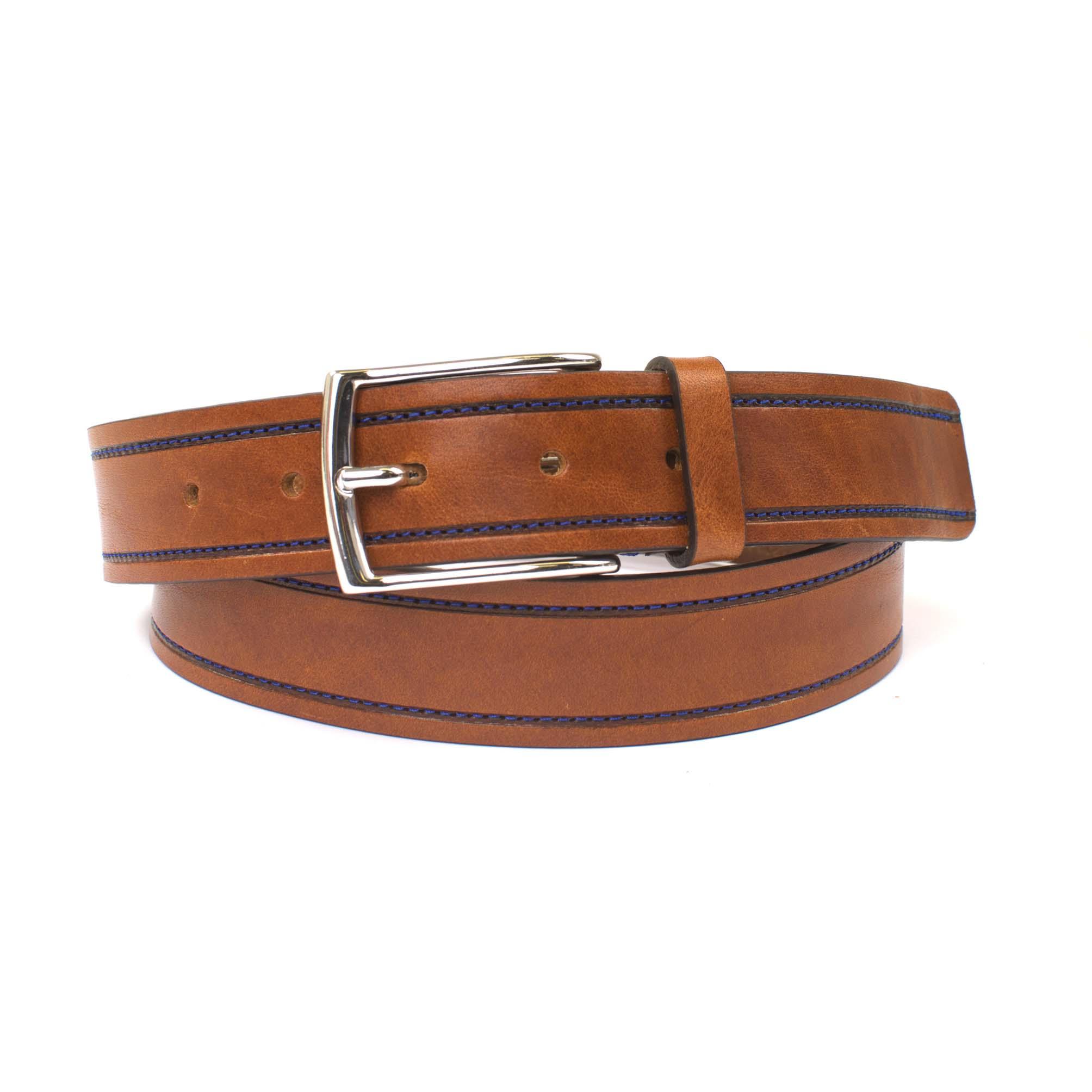 Tim | Belt leather contrast stitching brown