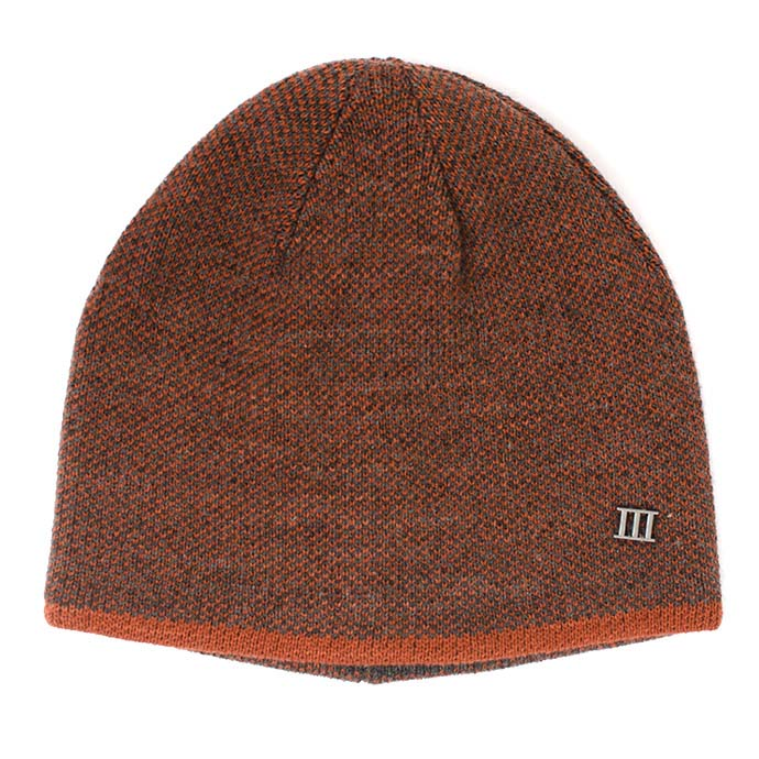 Jaxin | Fine knitted beanie with colored border orange