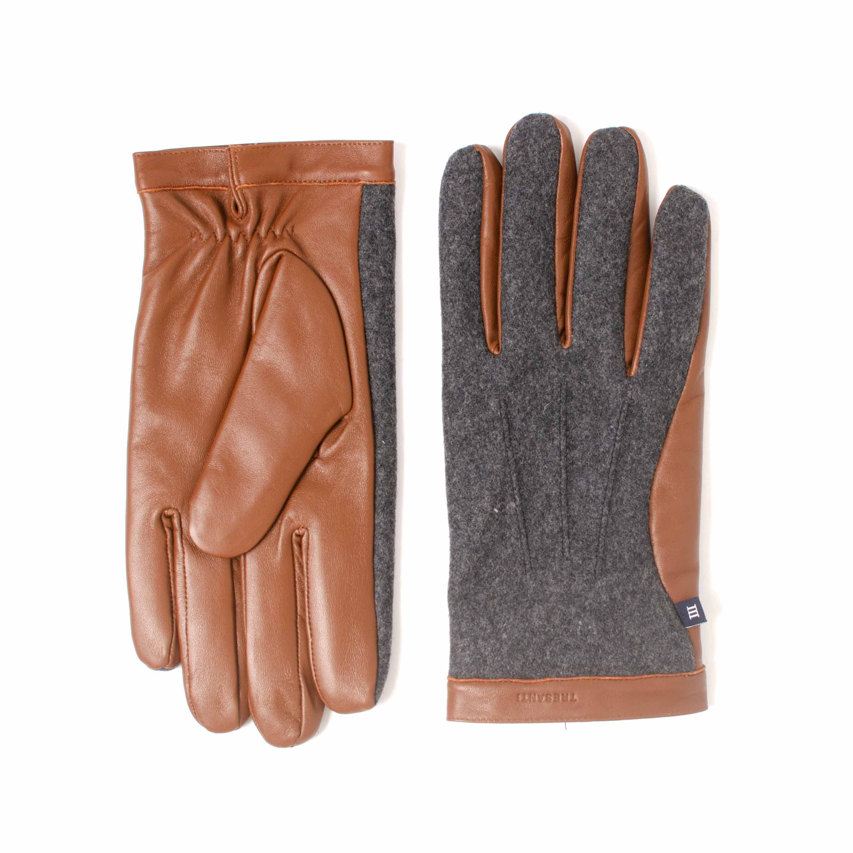 ELROY | Cognac leather en fabric gloves combined with grey