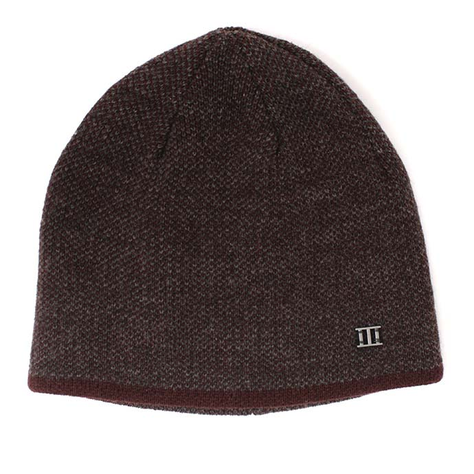 Jaxin | Fine knitted beanie with colored border burgundy