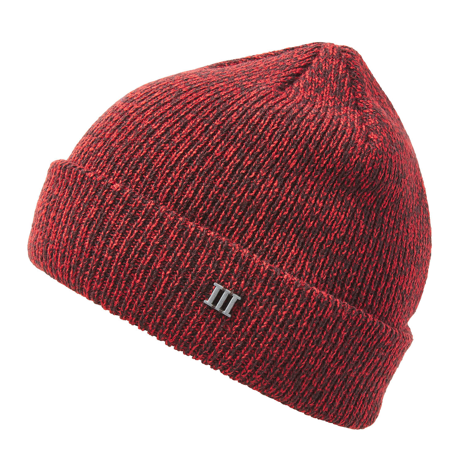 EARC | Fine knit beanie with cuff and metallic 3 in dark brown