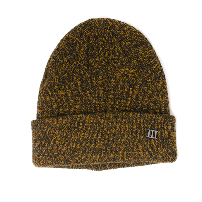 Jaroah | Fine knit beanie with cuff and metallic 3 mustard