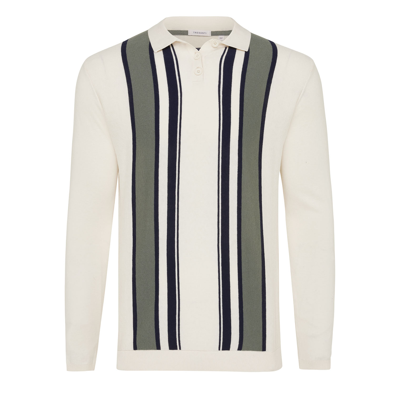 Malik | Pullover polo collar vertical stripes cotton/cashmere
