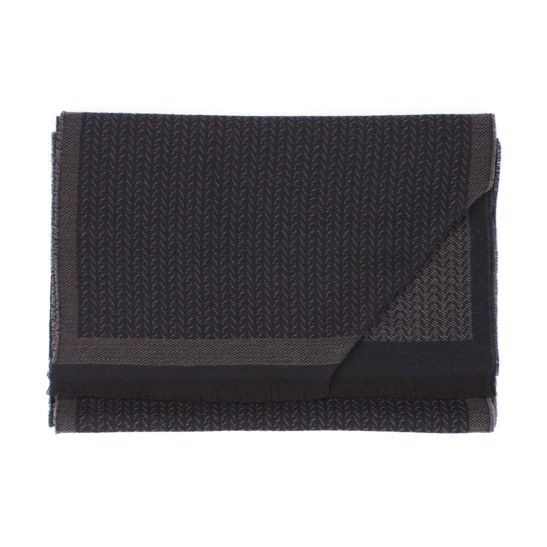Scarf woolen herringbone grey