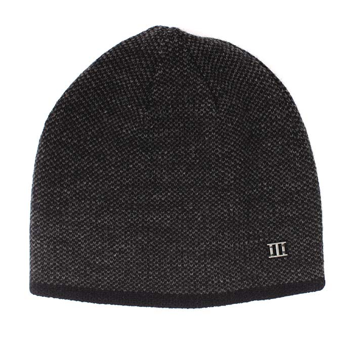 Jaxin | Fine knitted beanie with colored border grey