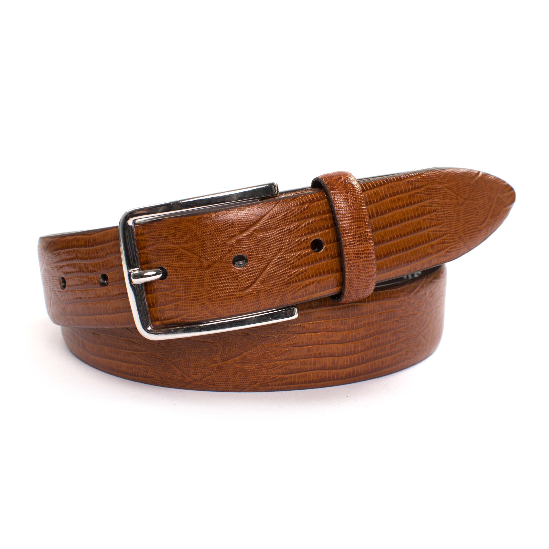 Belt cognac lizard embossed leather