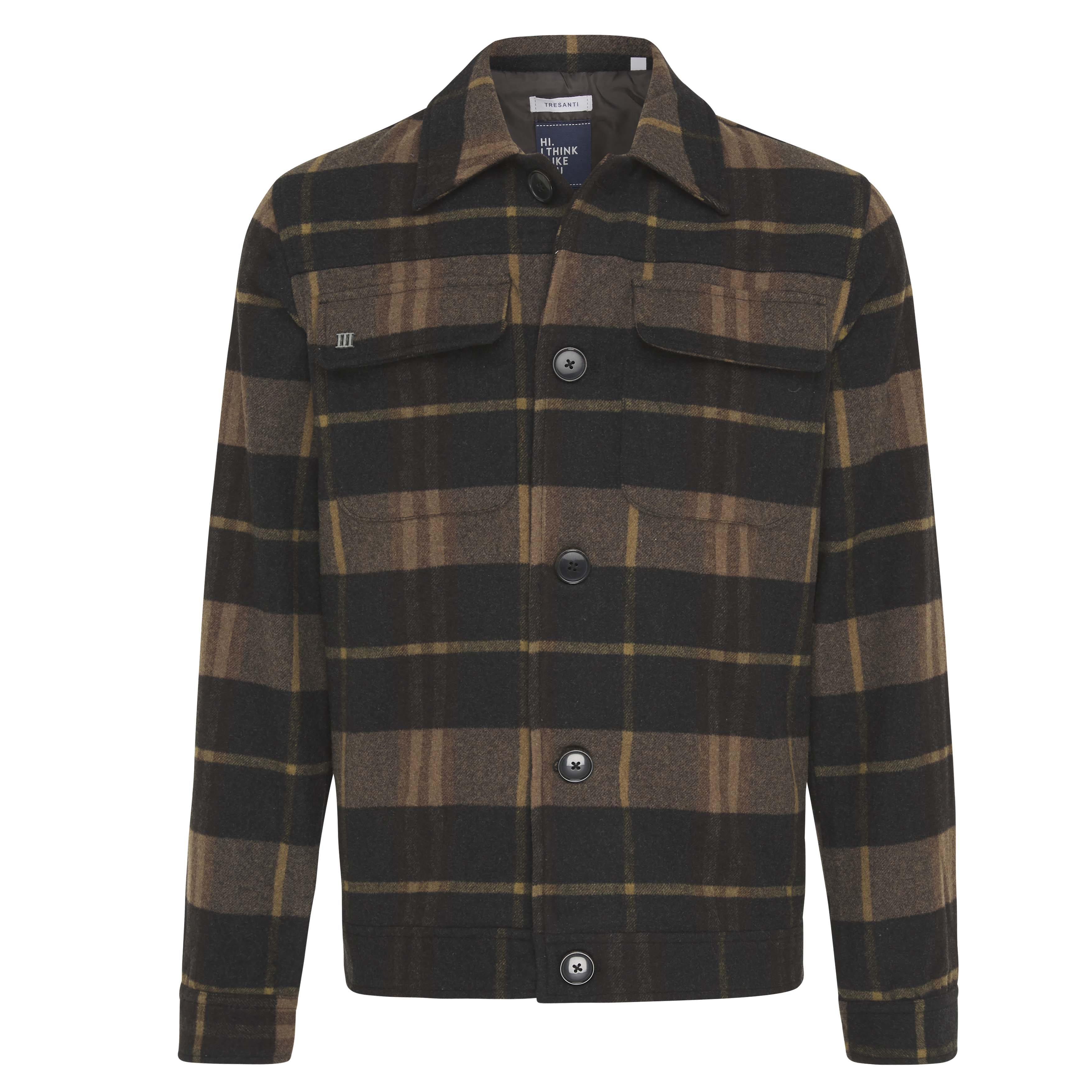 Jay | Jacket check wool blend brown
