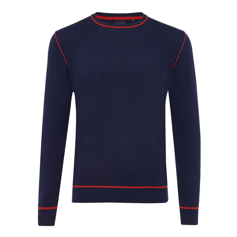 ELON | Basic jumper with side relief dark blue