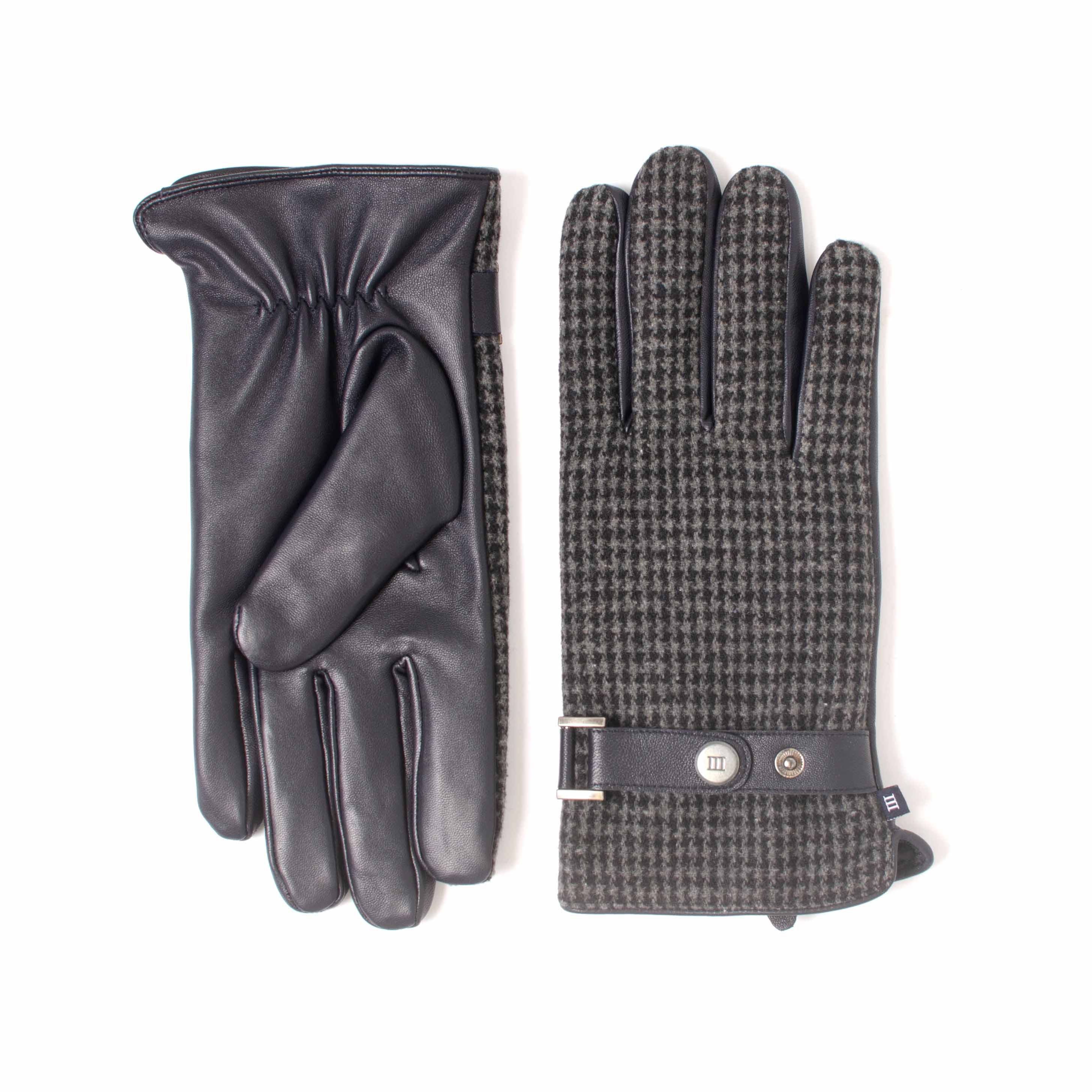 ELIRAN | Navy gloves made of leather and fabrick with a pied-de-poule dessin