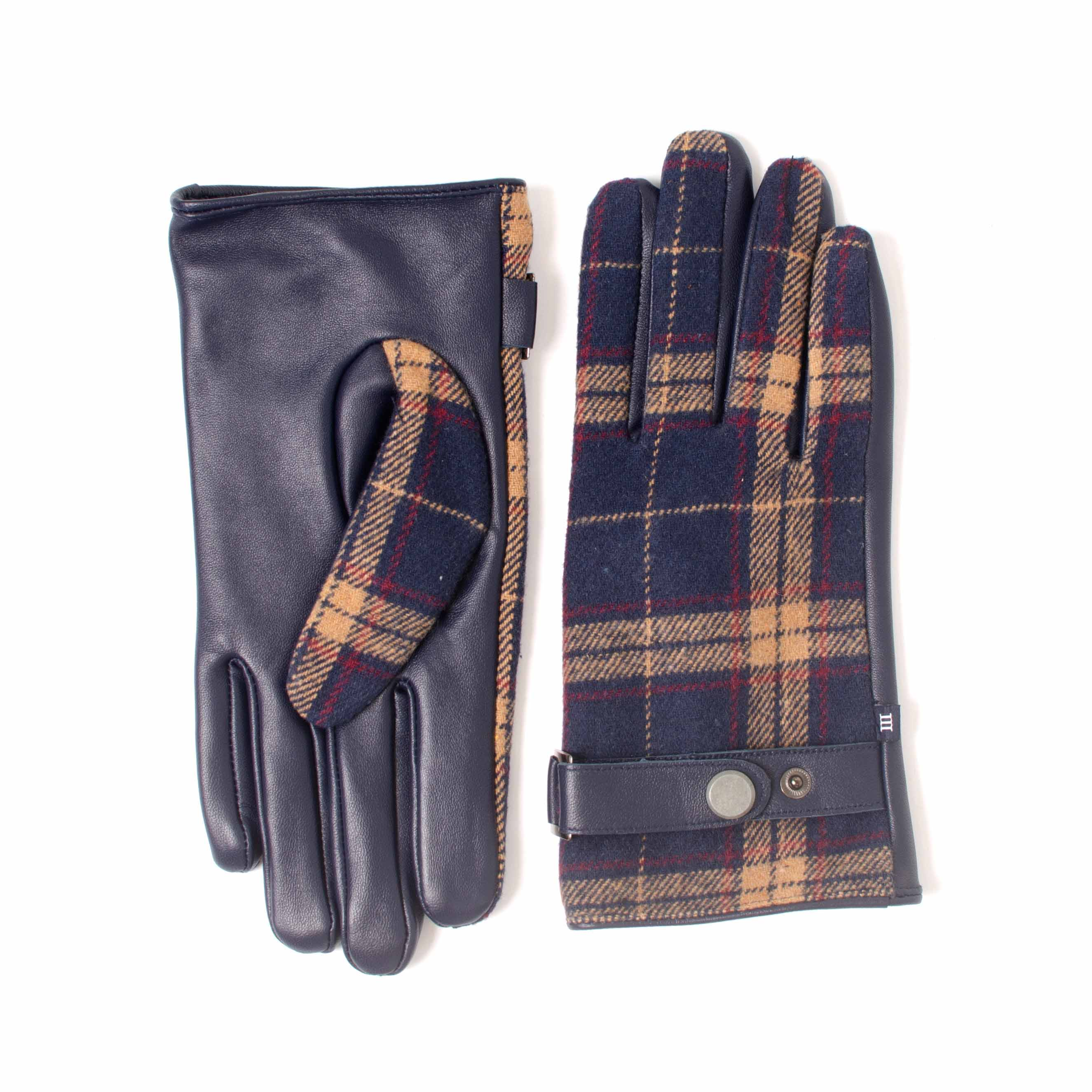 ELVYN | Navy leather and fabric glove with check pattern and beige accent color